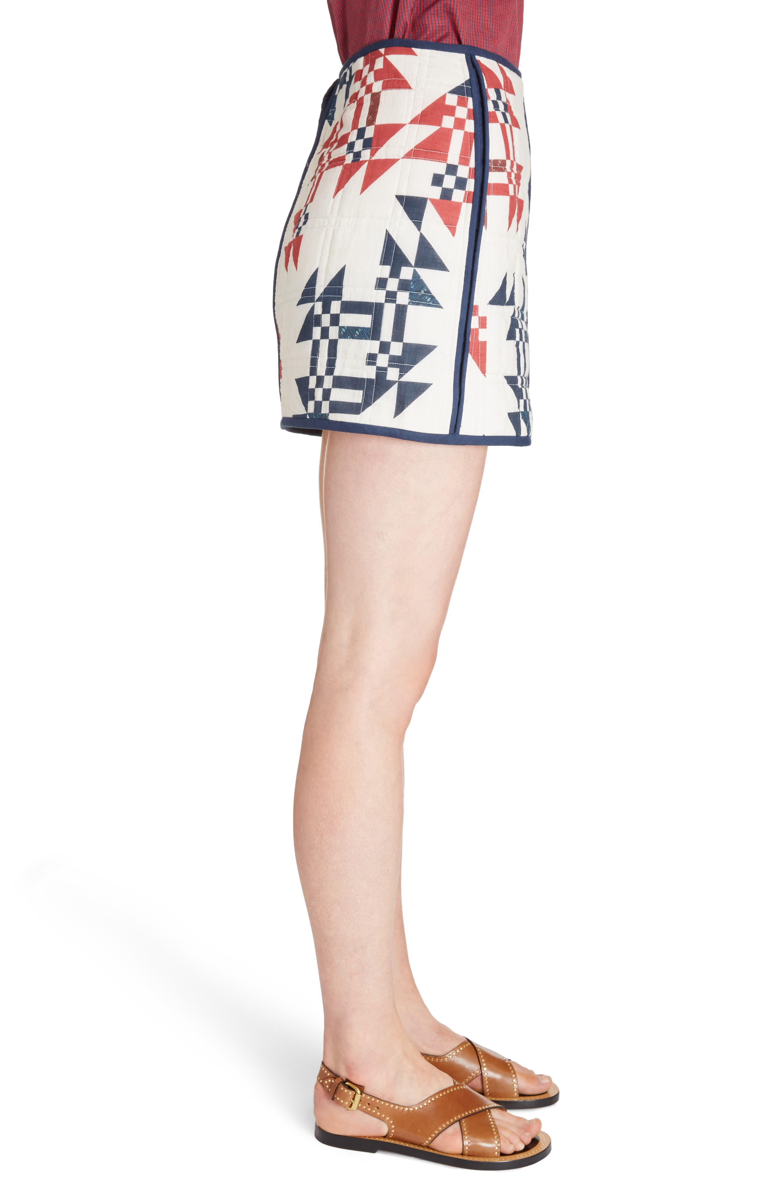 Lickly Origami Quilted Cotton Skirt,                             Alternate thumbnail 3, color,                             Ecru