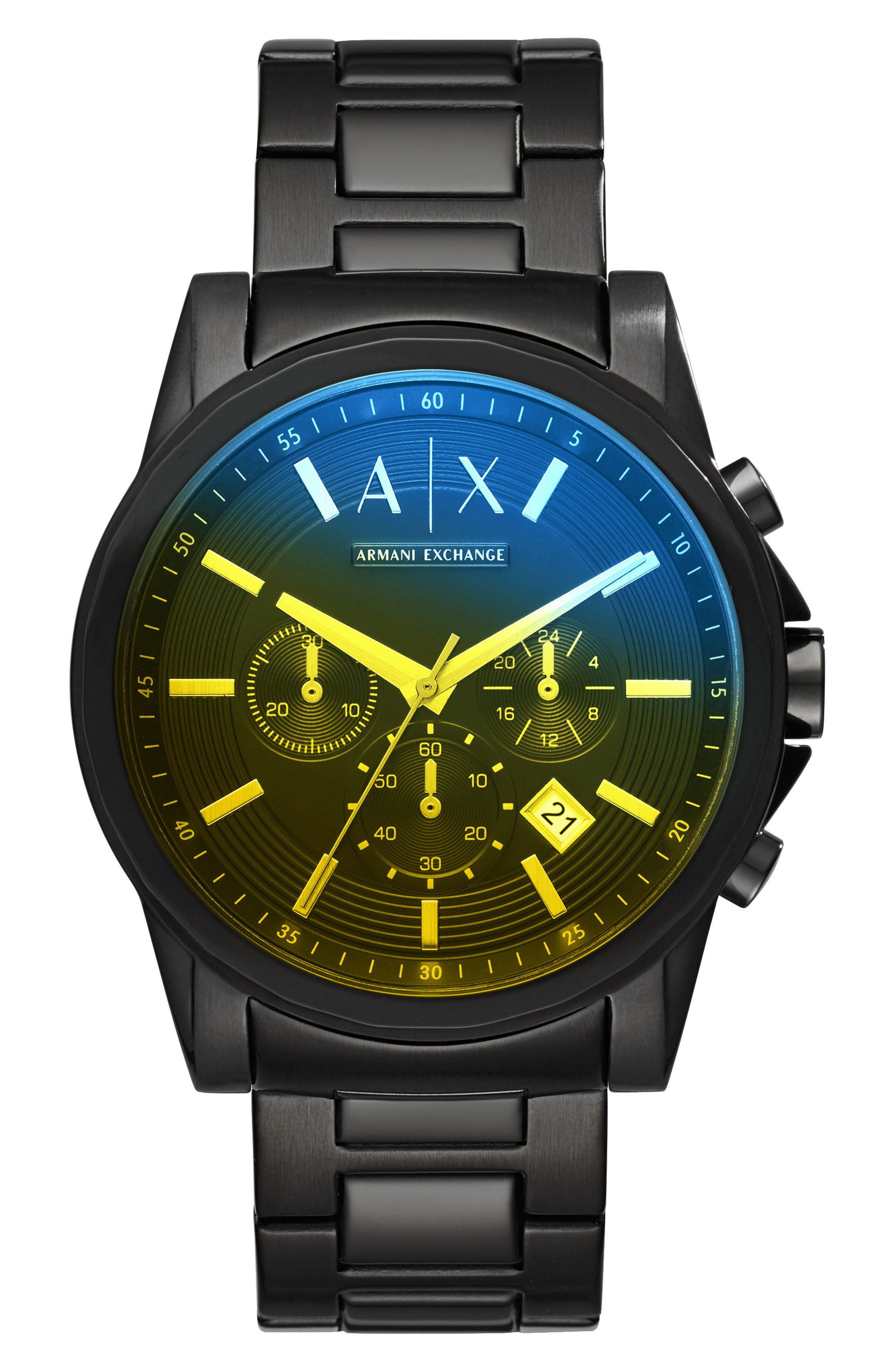 Chronograph Bracelet Watch, 45mm,                             Main thumbnail 1, color,                             Yellow Tint/ Black