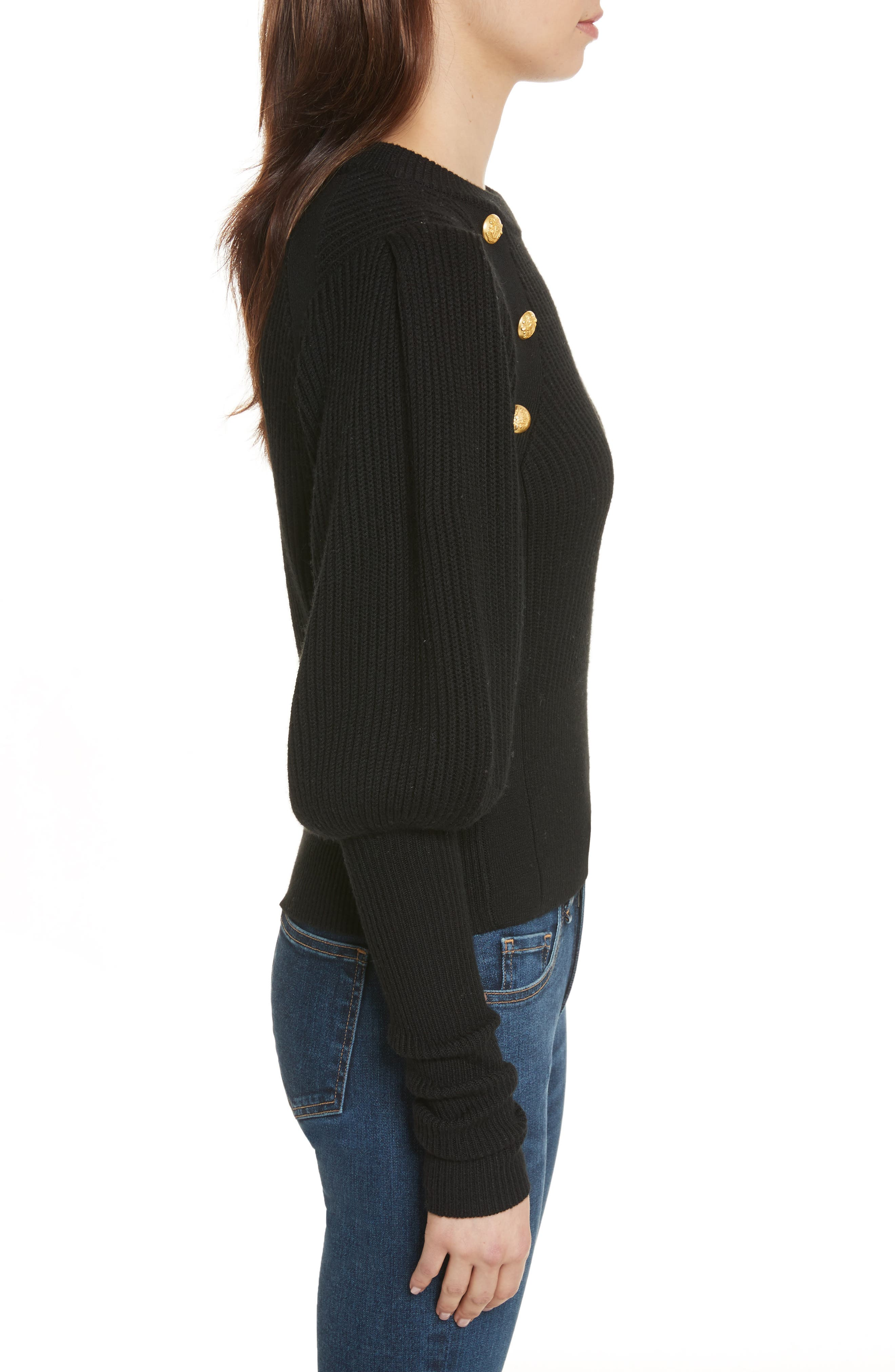 Jude Leg of Mutton Sleeve Sweater,                             Alternate thumbnail 3, color,                             Black