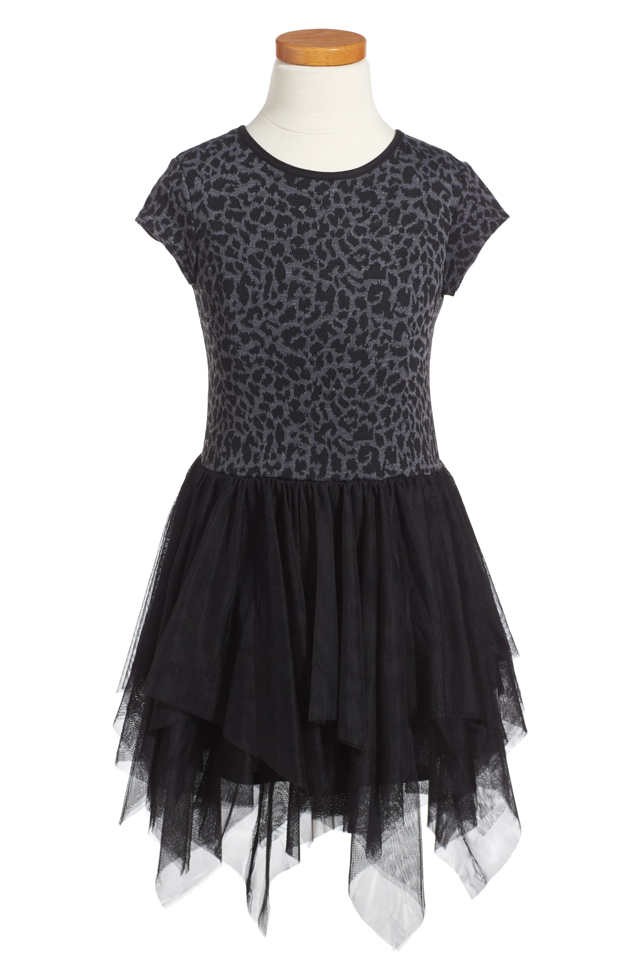 Pippa & Julie Leopard Print Tulle Dress (Toddler Girls & Little Girls)