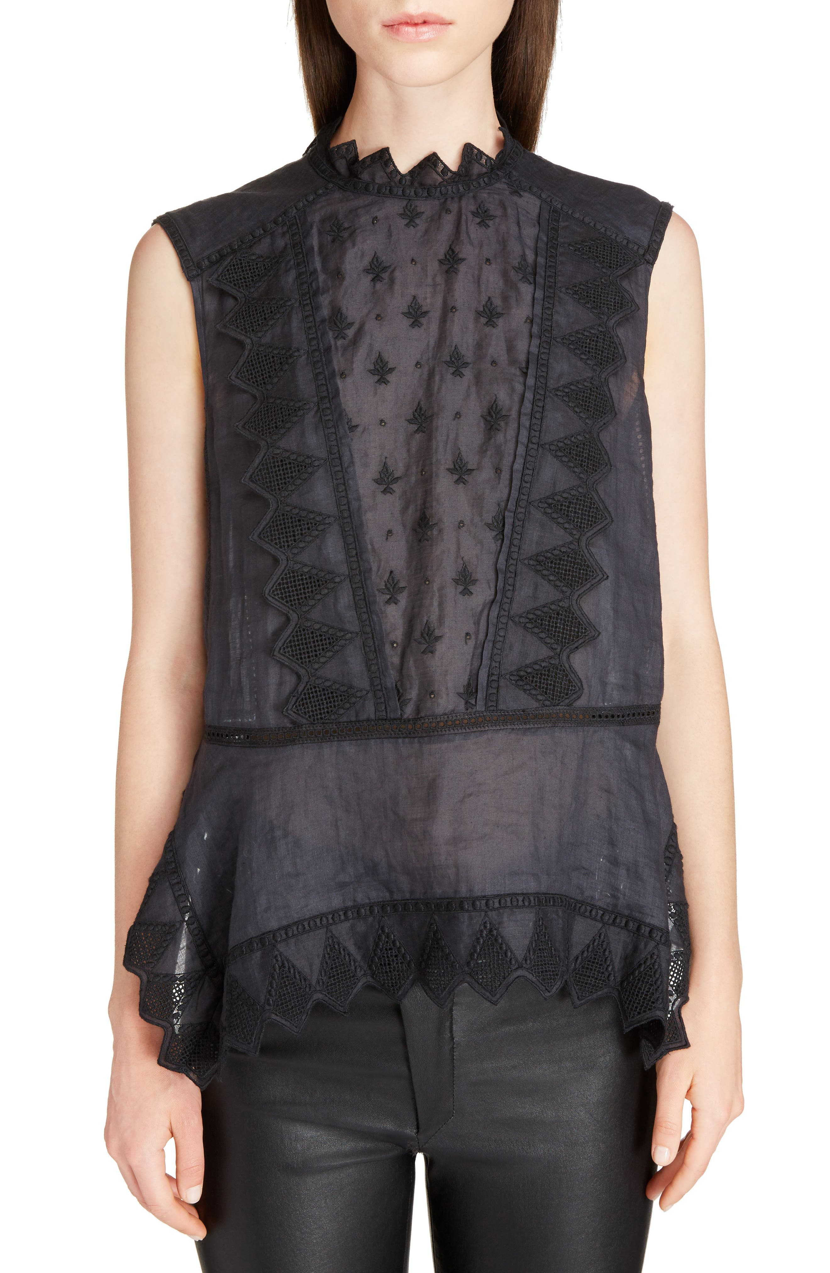 Nust Embroidered Top,                         Main,                         color, Black
