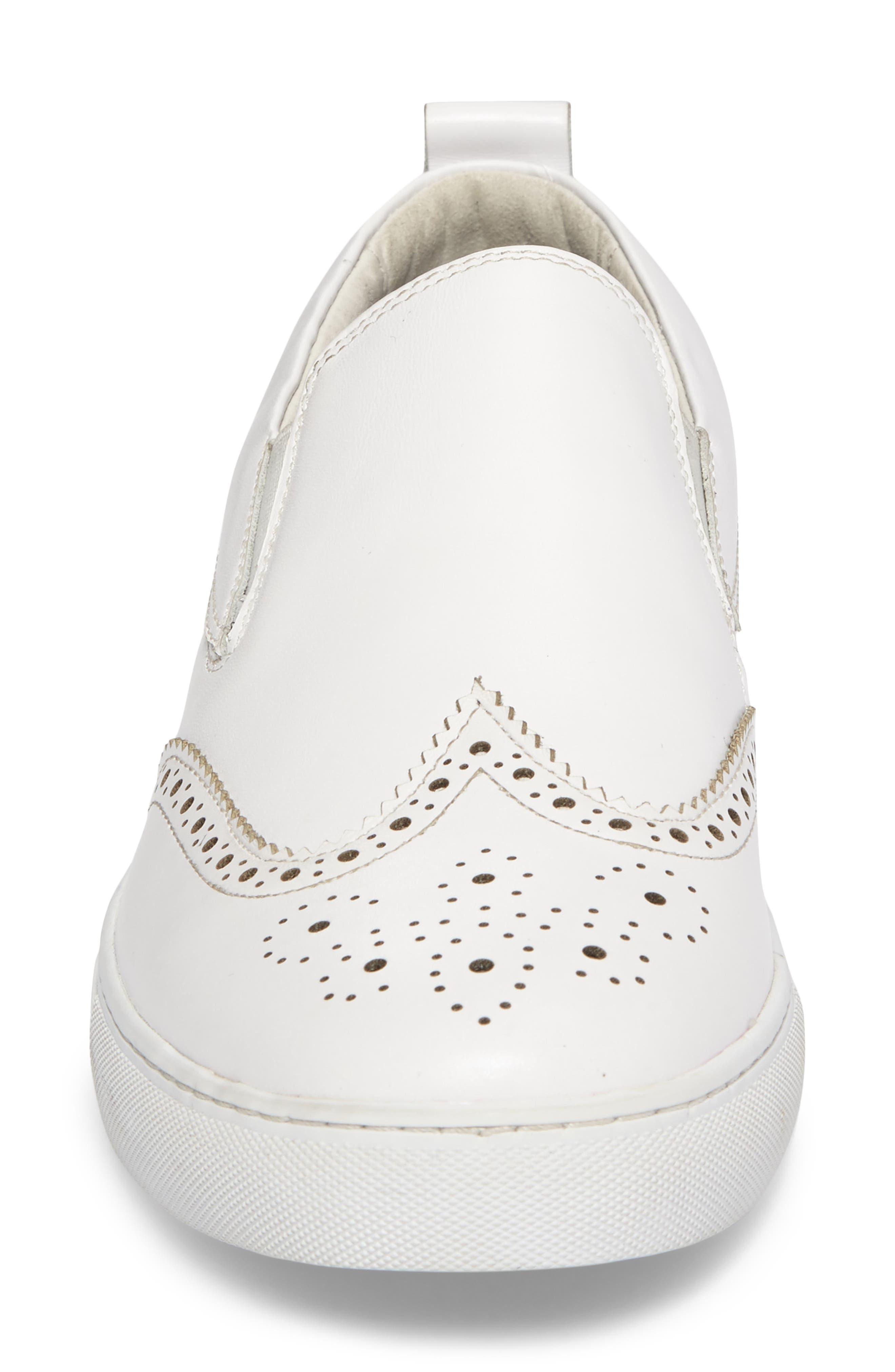 Ali Wingtip Slip-On Sneaker,                             Alternate thumbnail 4, color,                             White Leather