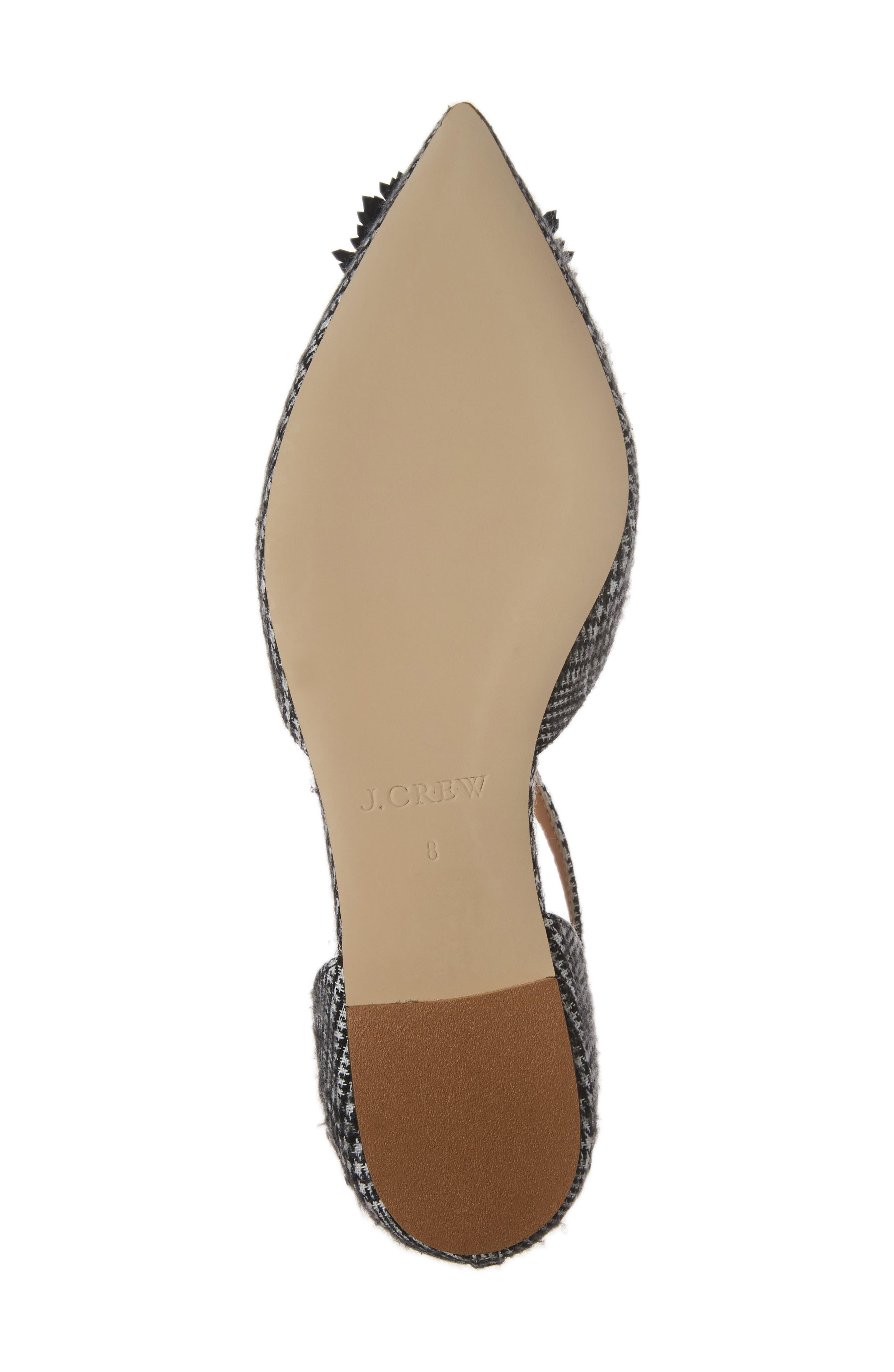 Sadie Cross Strap Pointy Toe Flat,                             Alternate thumbnail 6, color,                             Black/ White Fabric