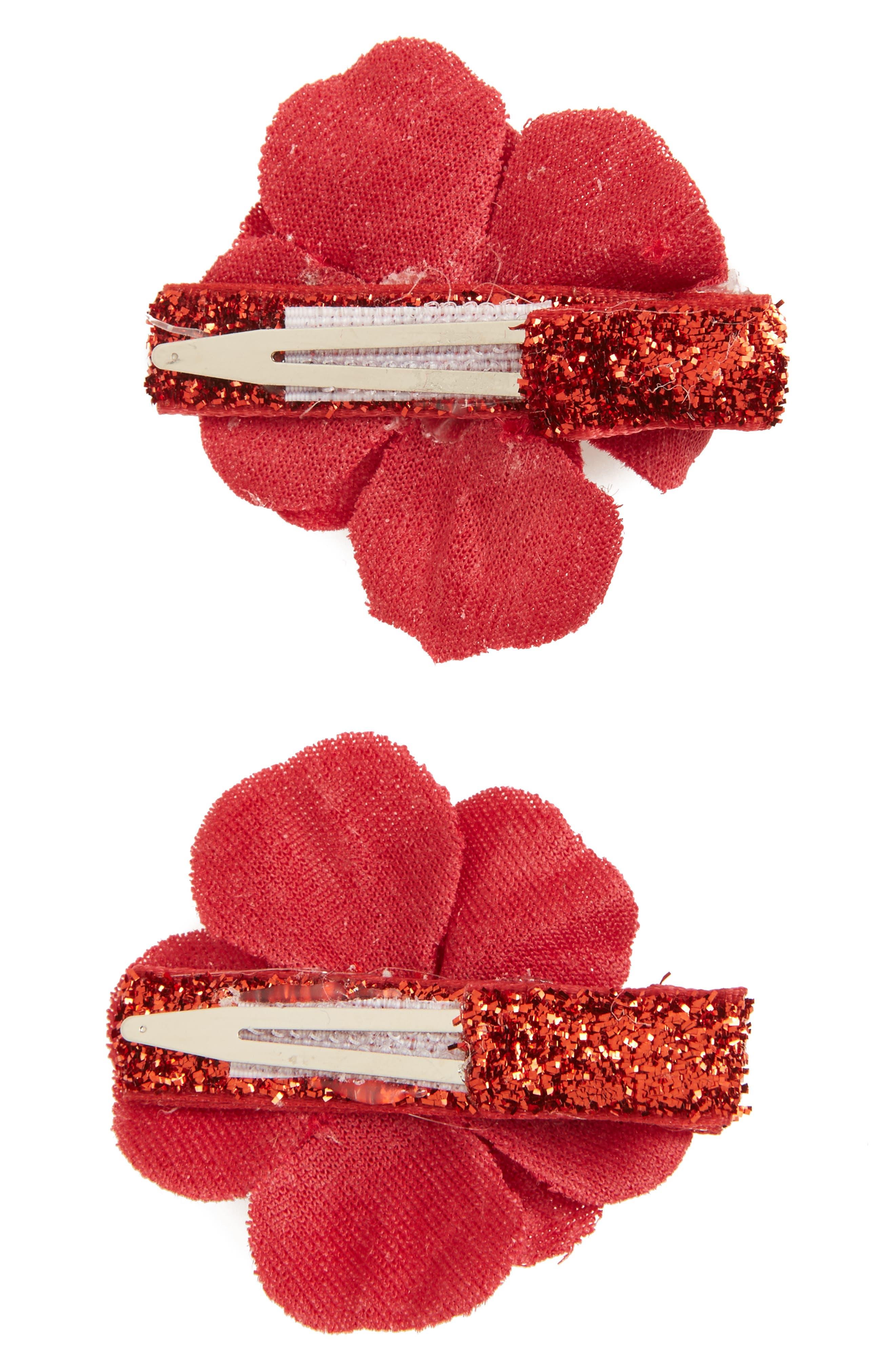 2-Pack Velvet Flower Clips,                             Alternate thumbnail 2, color,                             Red