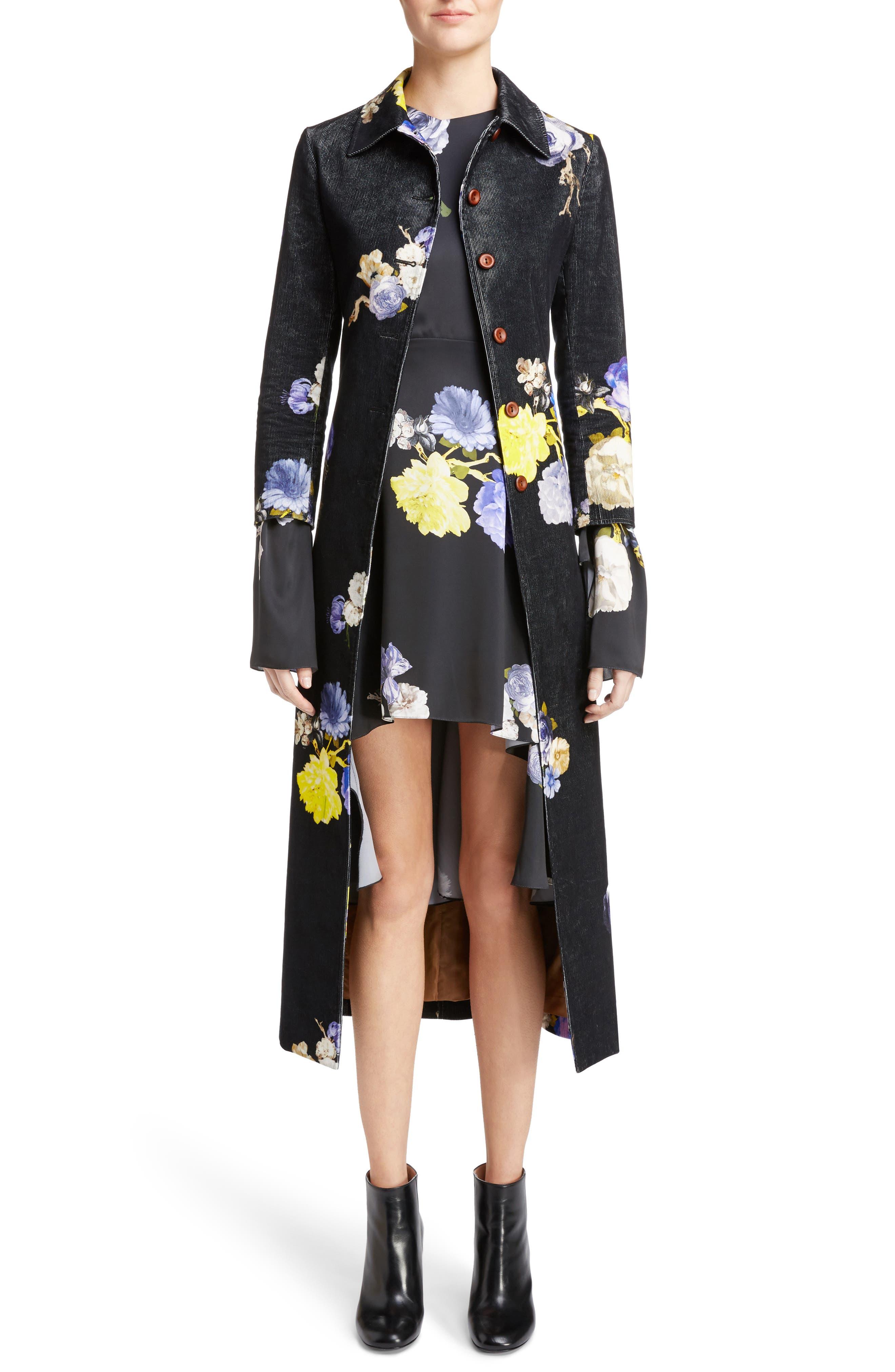 Okki Floral Print Bracelet Sleeve Coat,                             Main thumbnail 1, color,                             Big Flower Black
