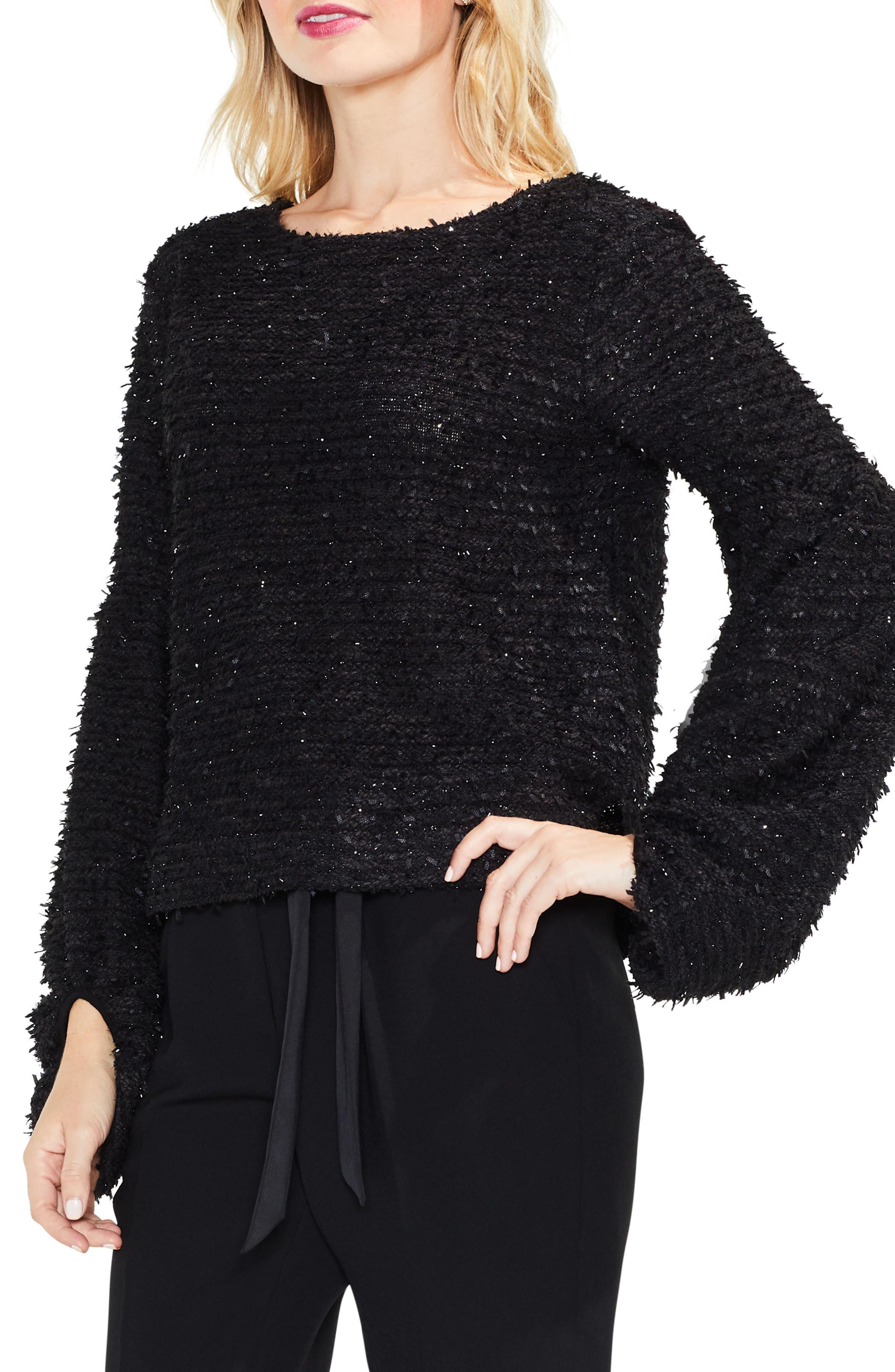 Bubble Sleeve Eyelash Knit Sweater,                         Main,                         color, Rich Black