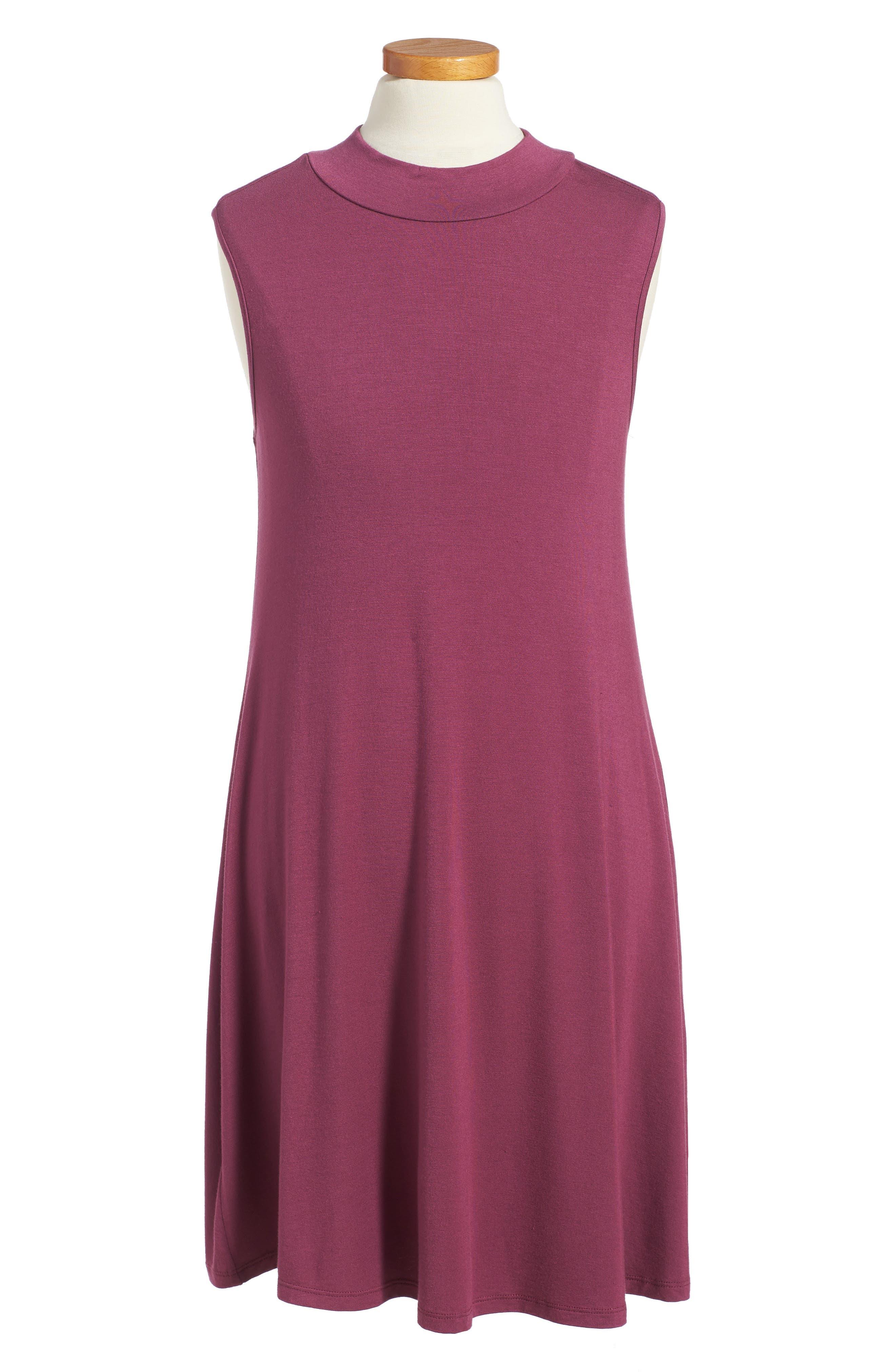Phyllis Stripe Mock Neck Dress,                         Main,                         color, Burgundy
