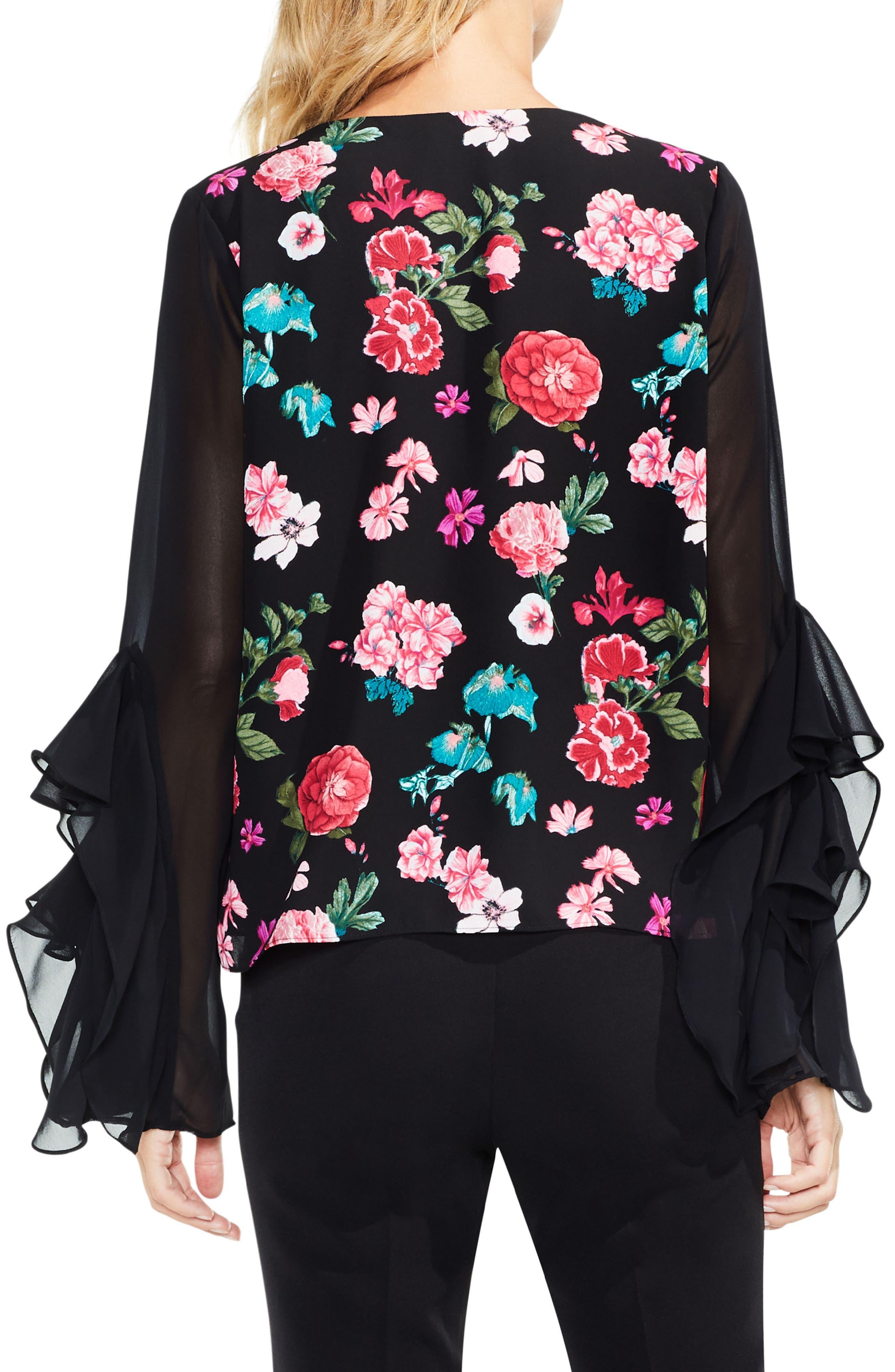 Floral Heirloom Ruffle Sleeve Top,                             Alternate thumbnail 2, color,                             Rich Black