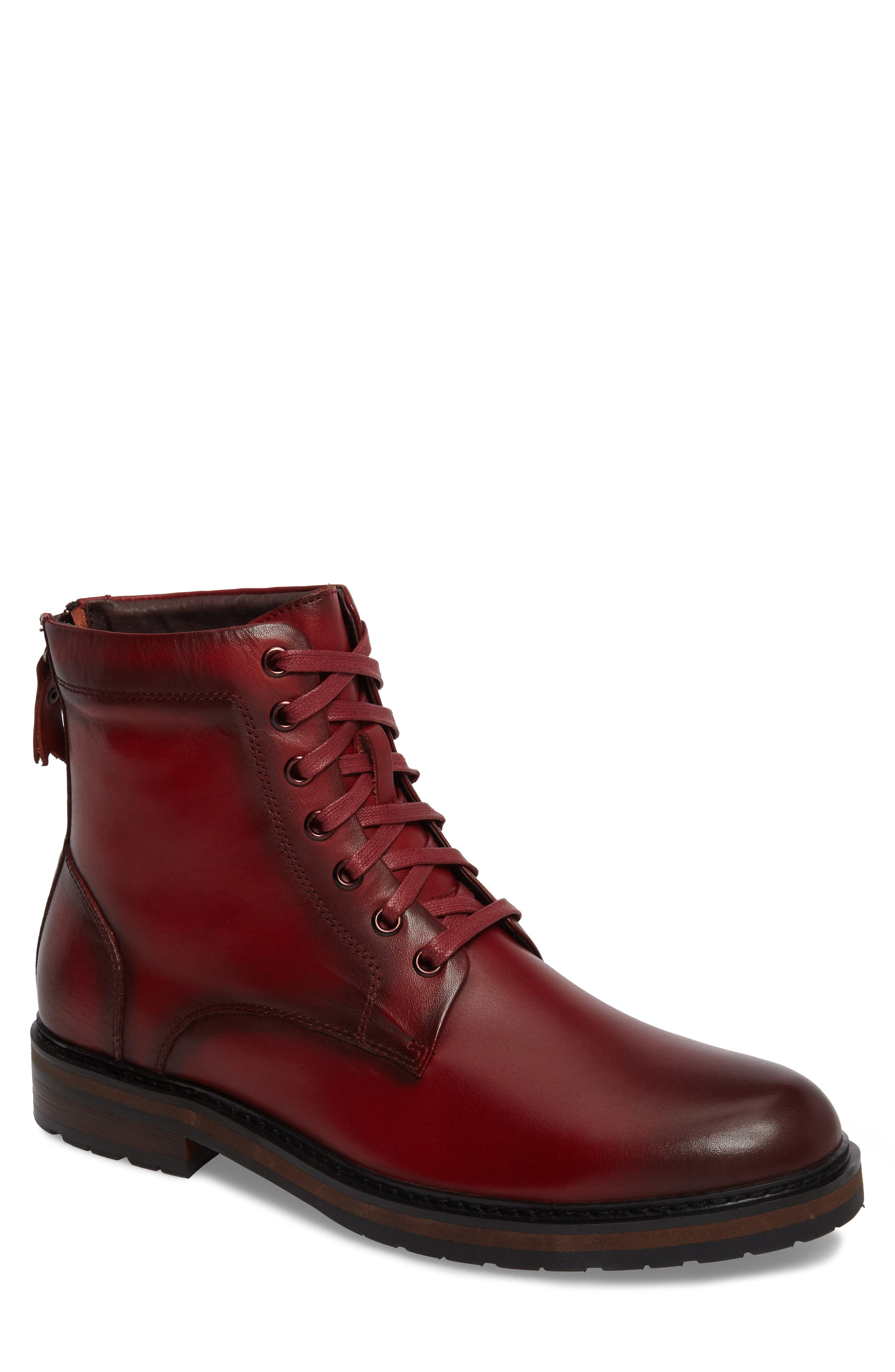 Miro Combat Boot,                         Main,                         color, Wine Leather