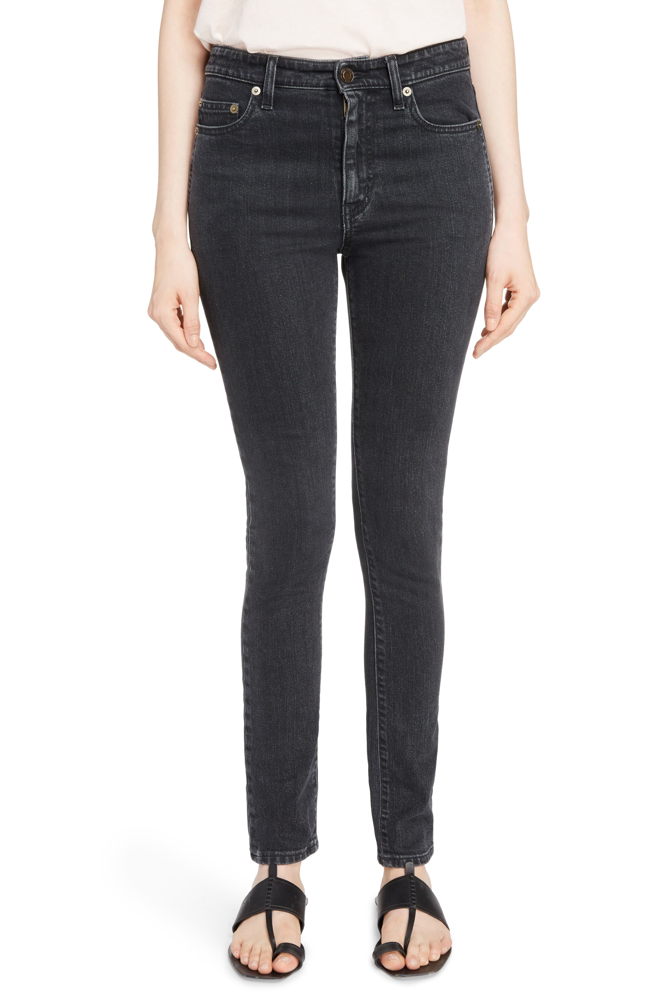 Skinny Stretch Jeans,                             Main thumbnail 1, color,                             Black Stonewash
