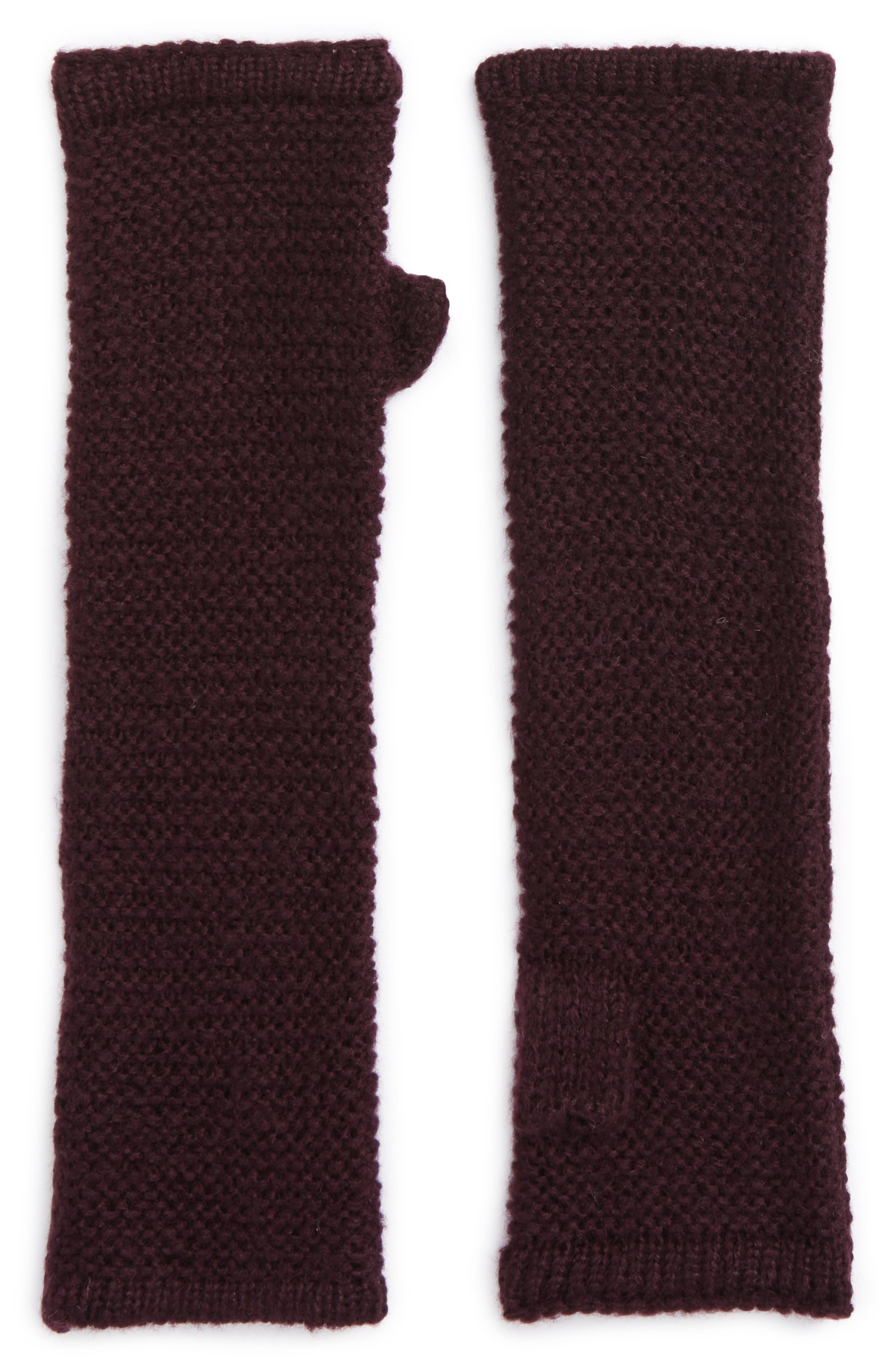 Garter Stitch Fingerless Gloves,                             Main thumbnail 1, color,                             Deep Eggplant