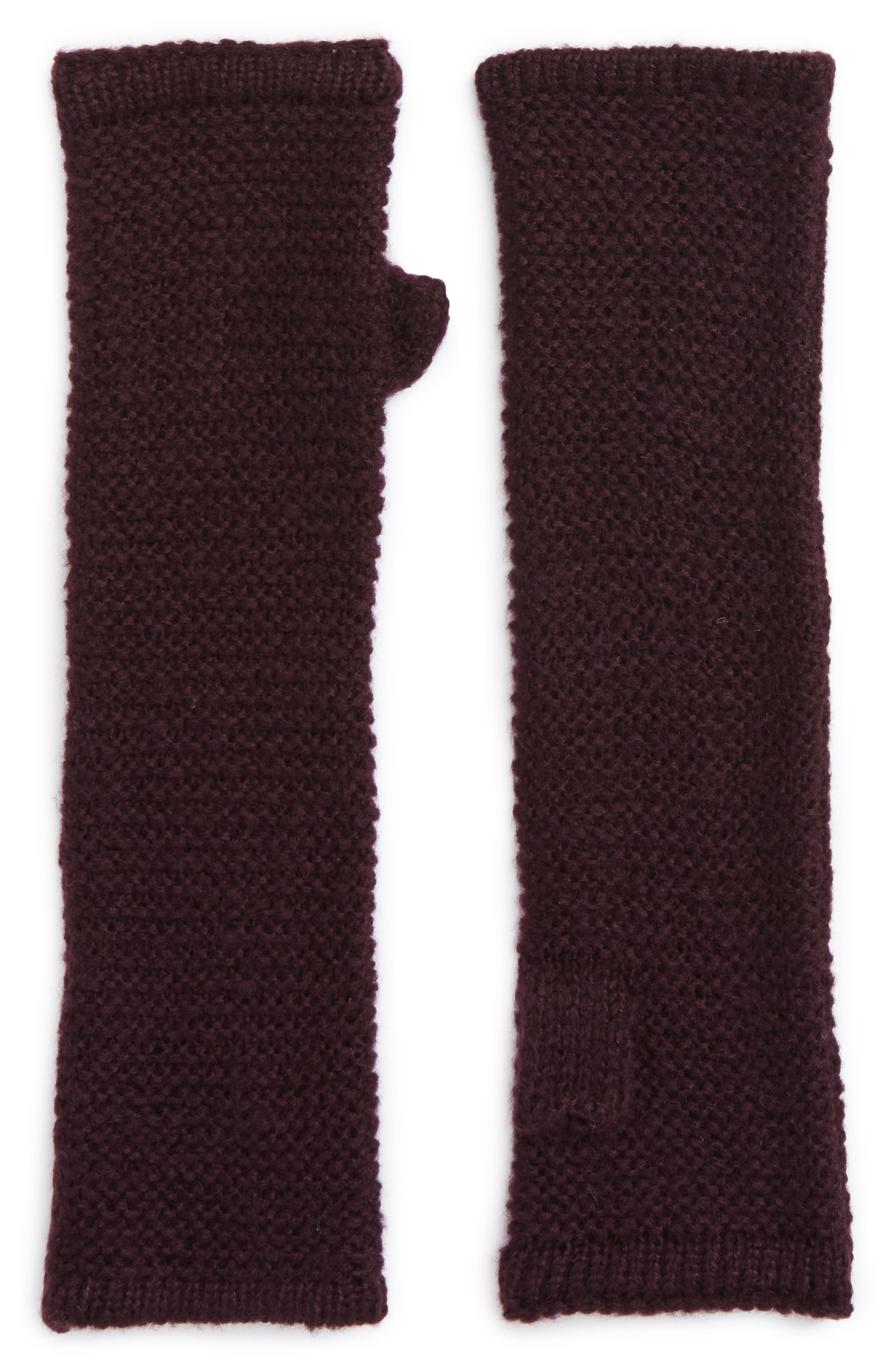 Garter Stitch Fingerless Gloves,                         Main,                         color, Deep Eggplant