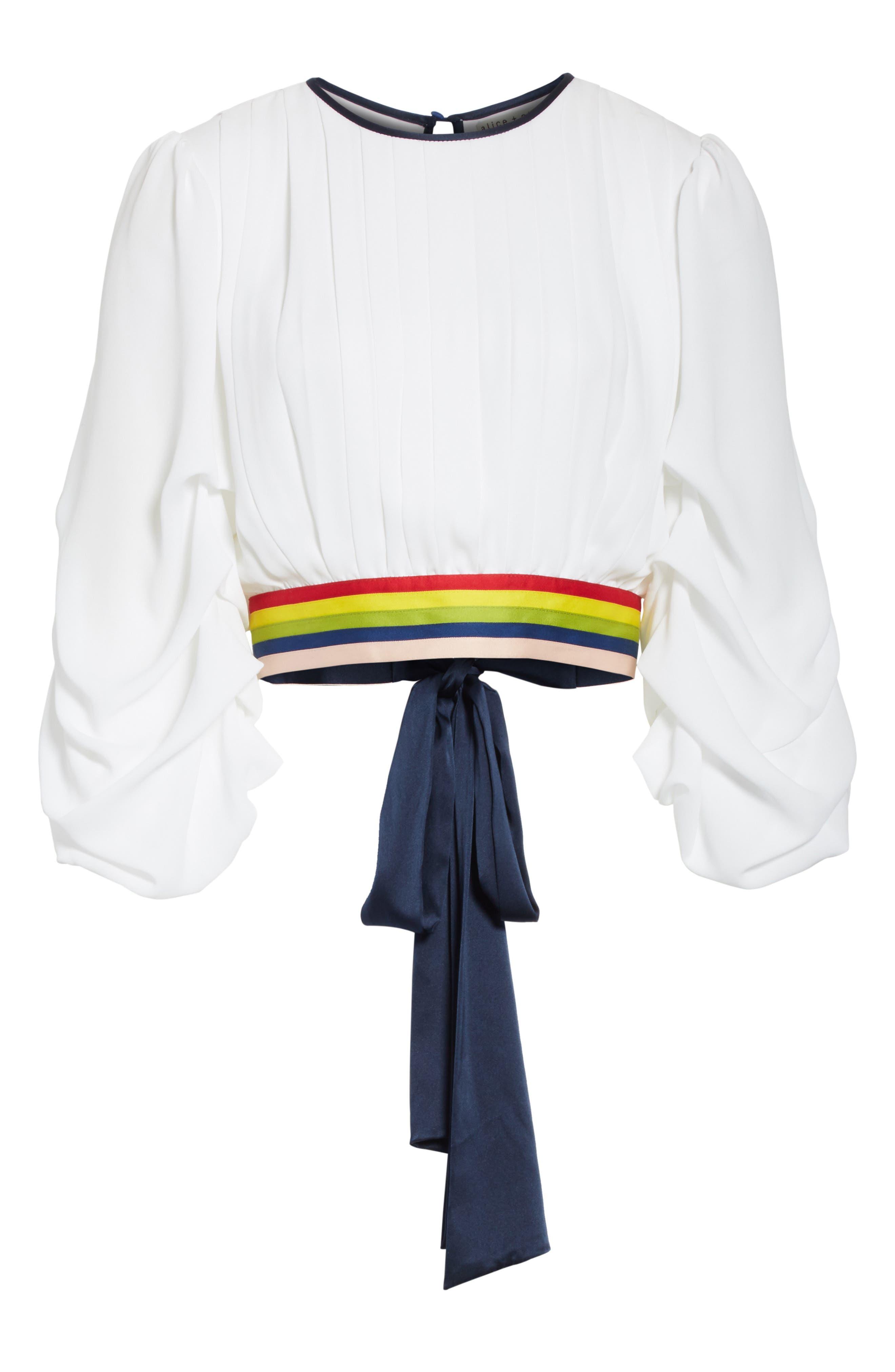 Dakota Tack Sleeve Top,                             Alternate thumbnail 6, color,                             White/ Multi