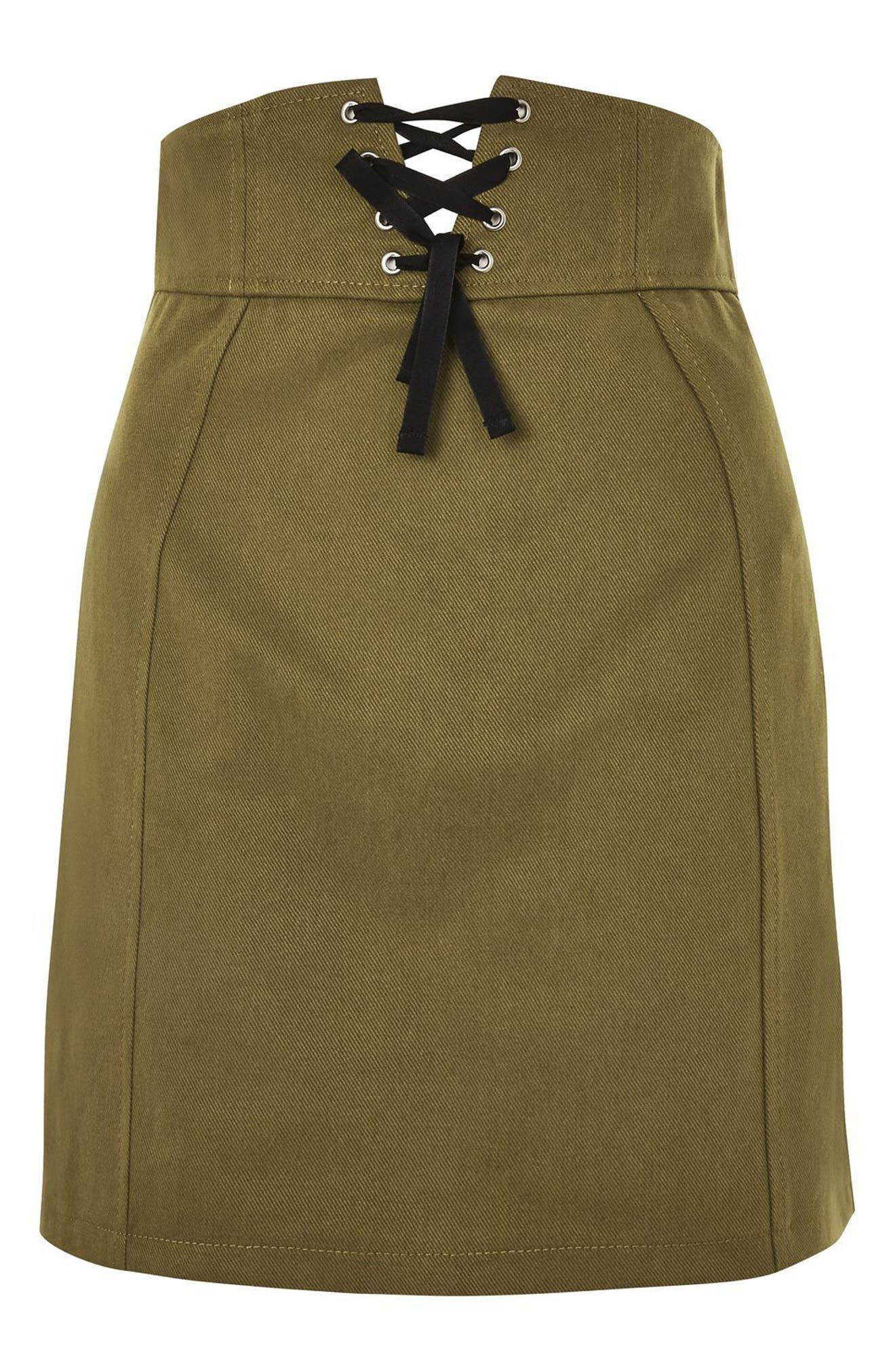 Corset Lace-Up Skirt,                             Alternate thumbnail 3, color,                             Olive
