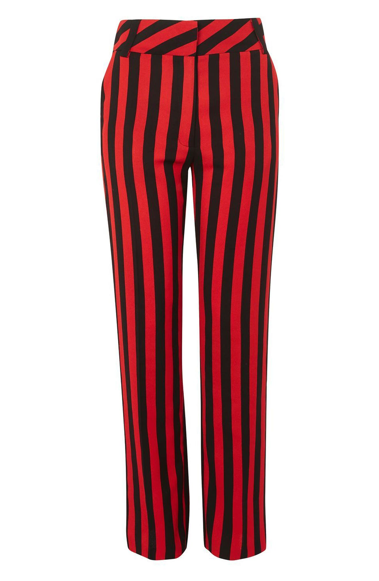Humbug Stripe Trousers,                             Alternate thumbnail 5, color,                             Red Multi