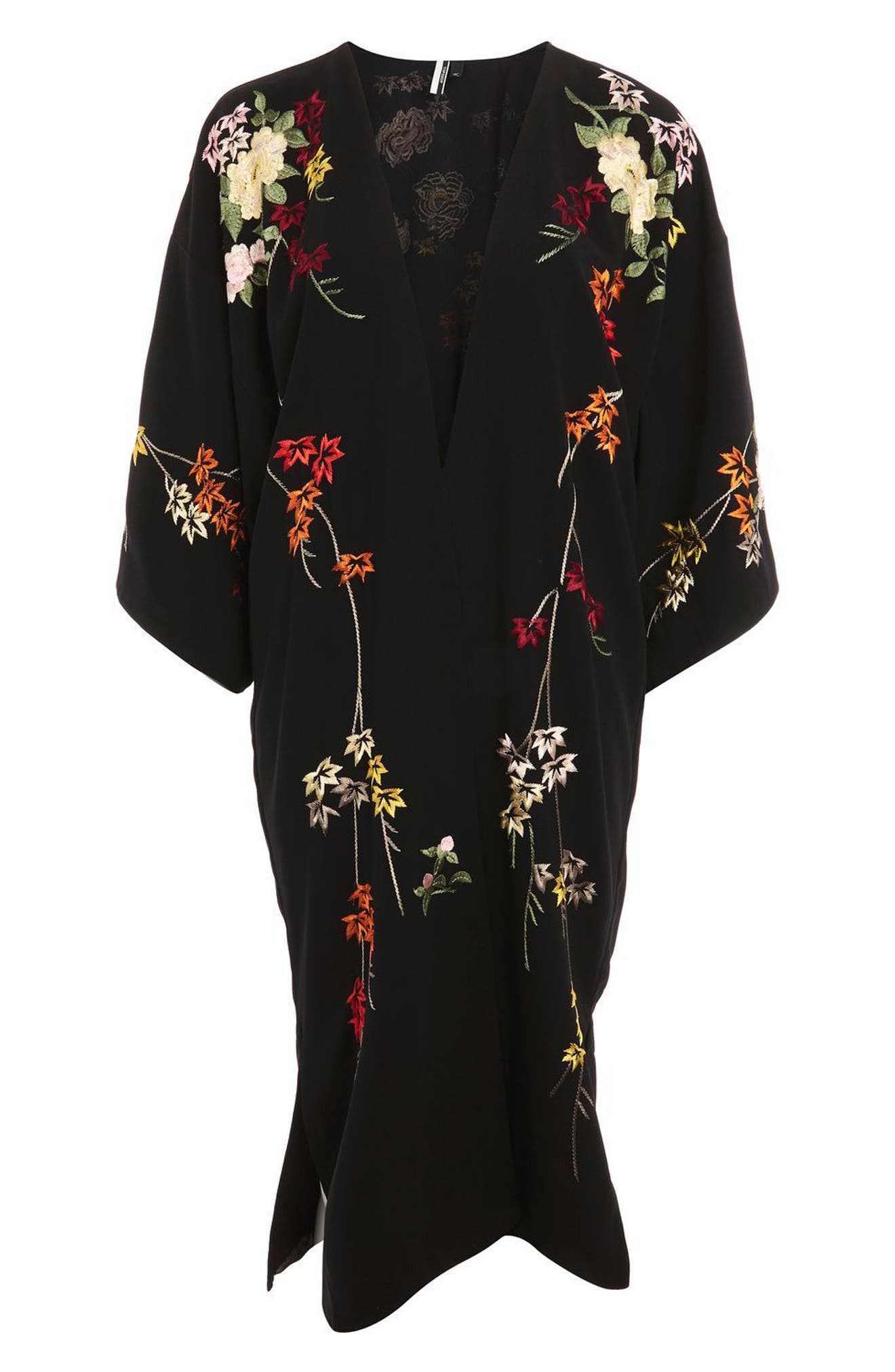 Floral Embroidered Kimono,                             Alternate thumbnail 4, color,                             Black Multi