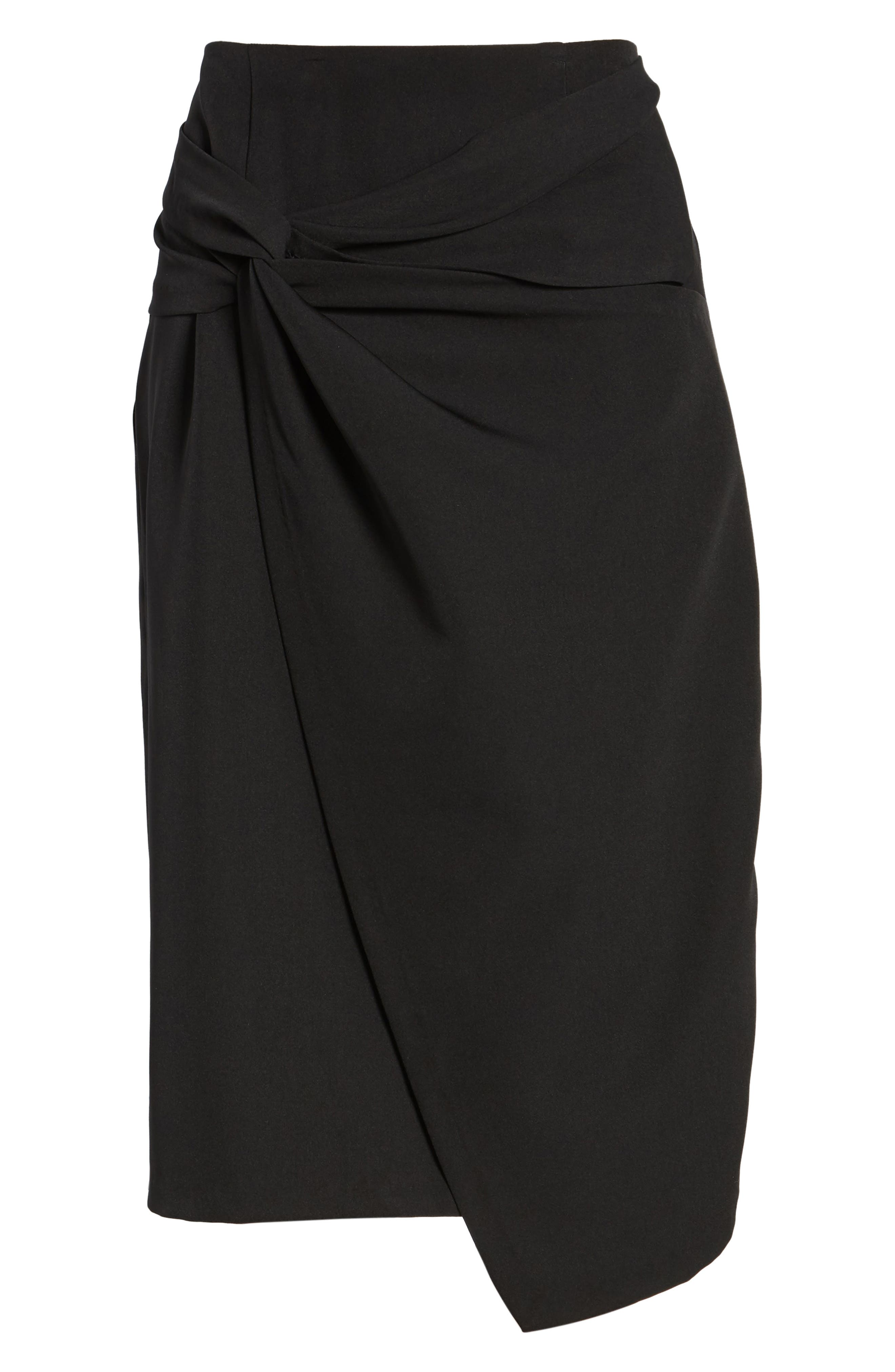 Twist Front Pencil Skirt,                             Alternate thumbnail 6, color,                             Black