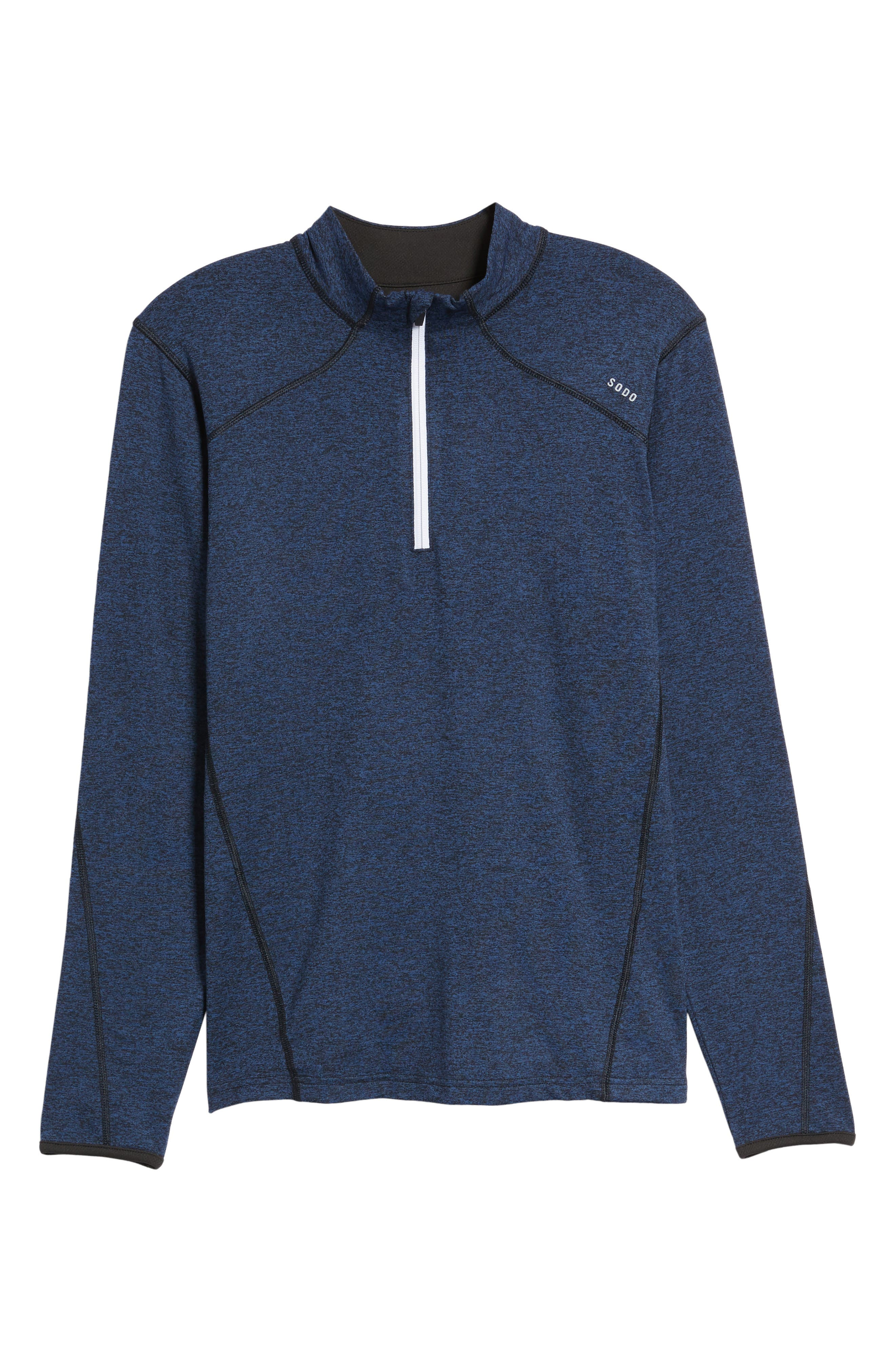 'Elevate' Moisture Wicking Stretch Quarter Zip Pullover,                             Main thumbnail 1, color,                             Navy Black/ Black/ White