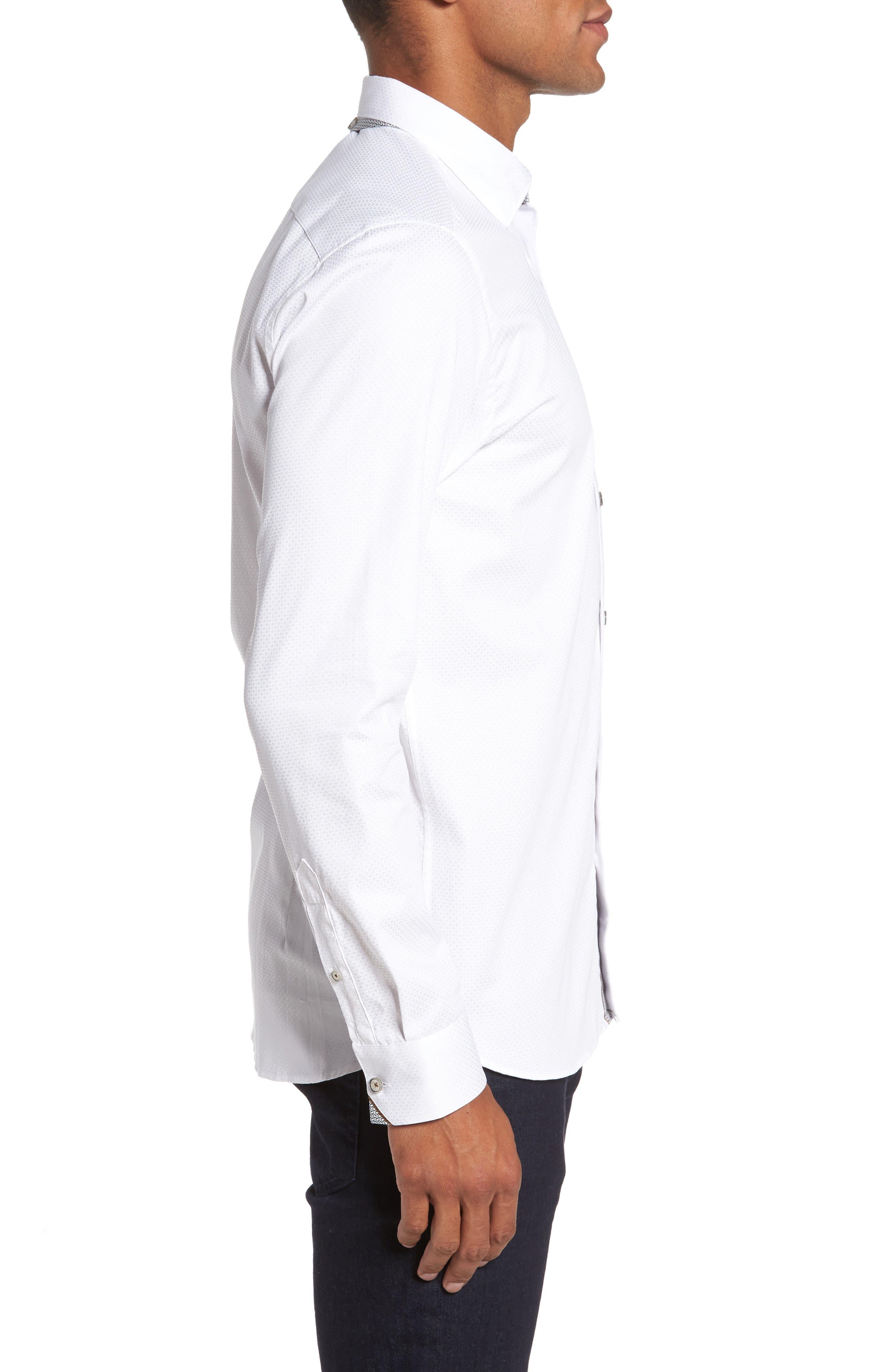 Strazbo Tonal Print Sport Shirt,                             Alternate thumbnail 3, color,                             White