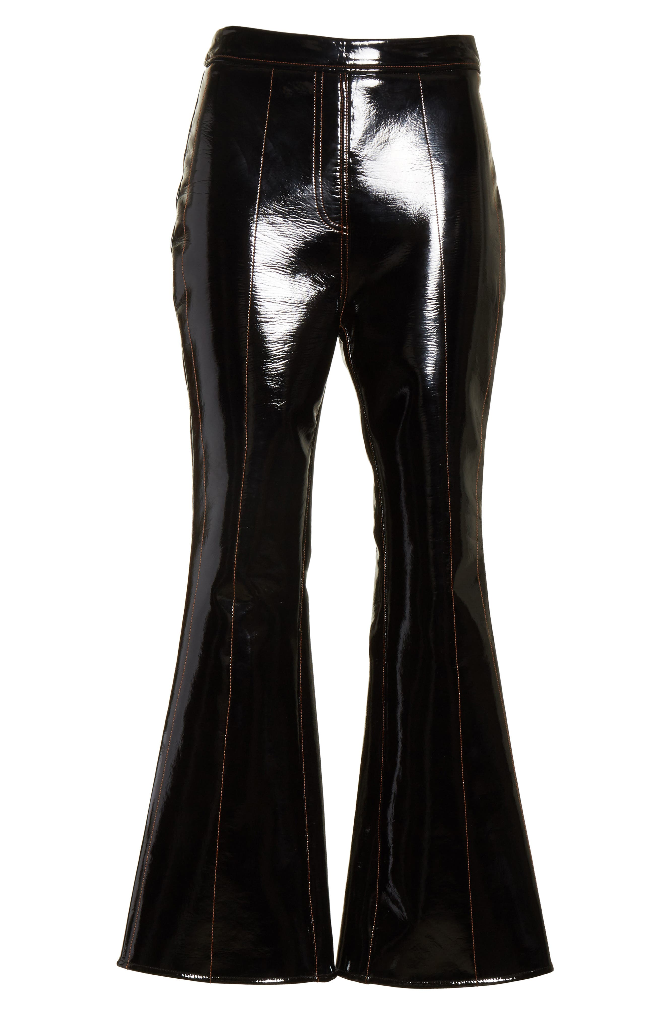 Outlaw Topstitched Crop Flare PVC Pants,                             Alternate thumbnail 6, color,                             Black