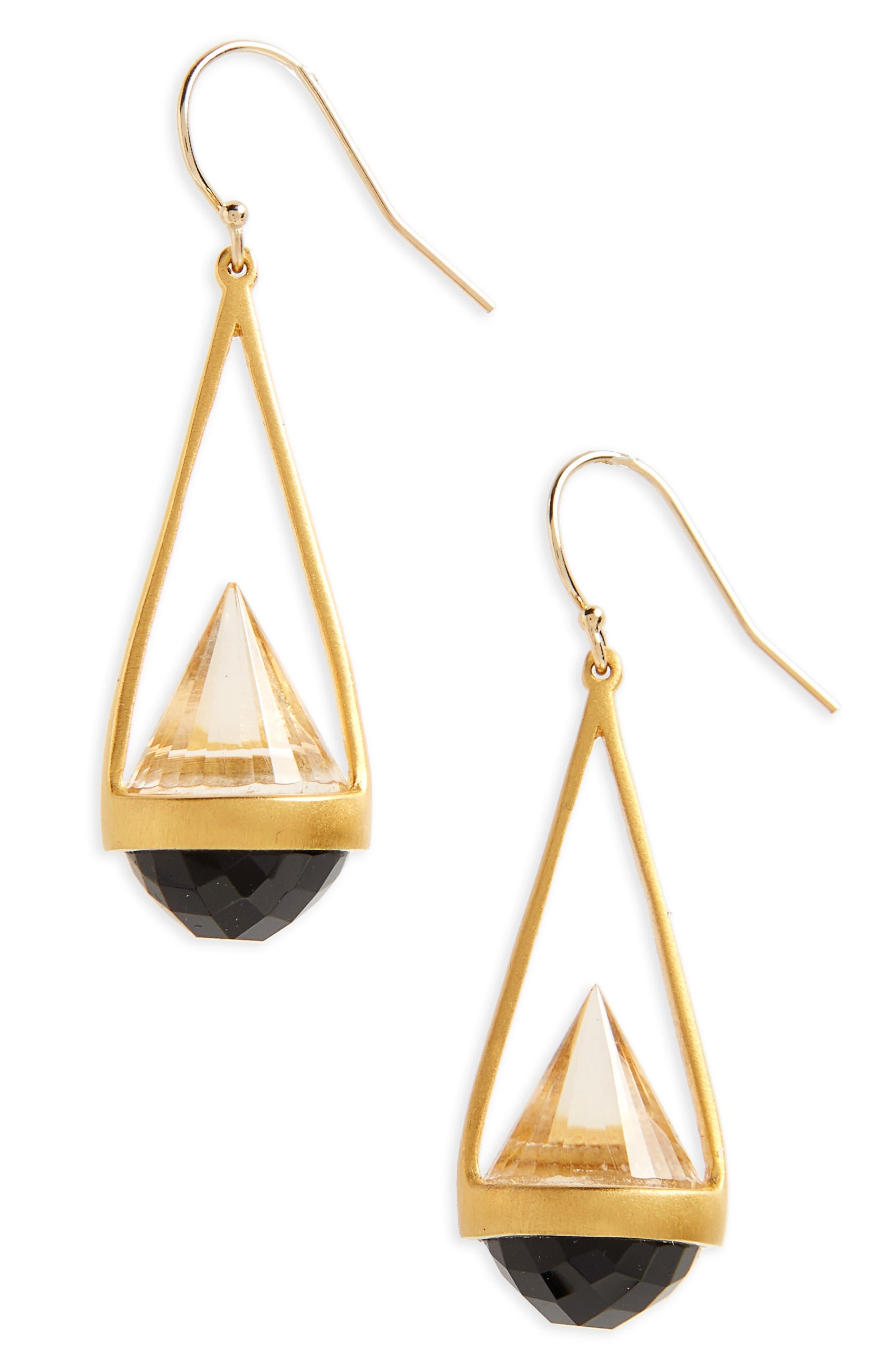 Rio Drop Earrings,                             Main thumbnail 1, color,                             Black Onyx/ Gold
