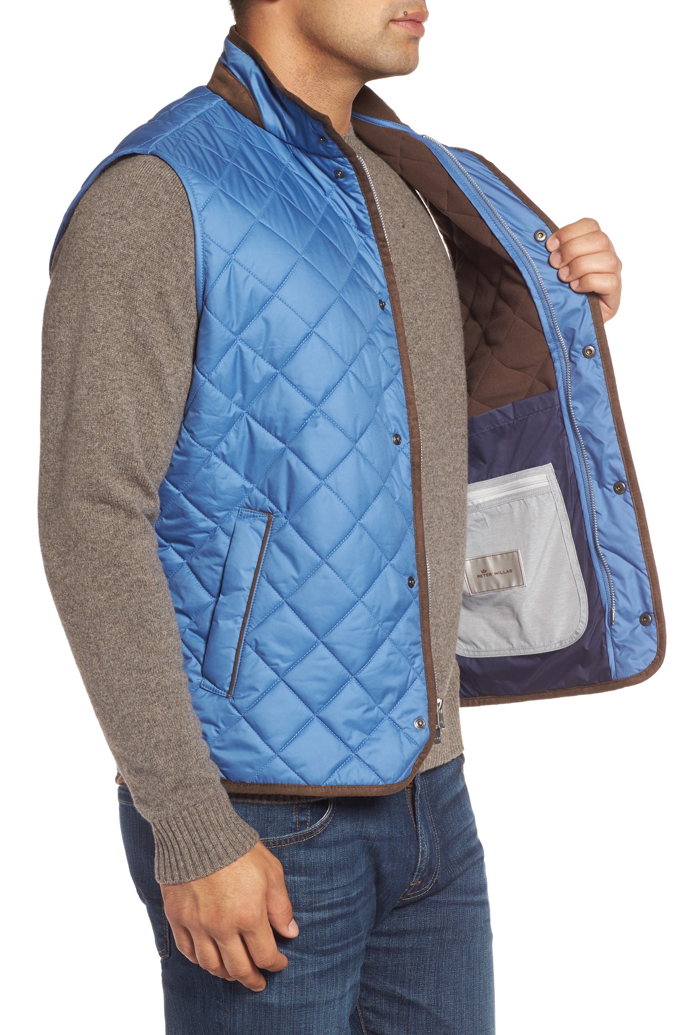 Essex Quilted Vest,                             Alternate thumbnail 3, color,                             Moon Blue