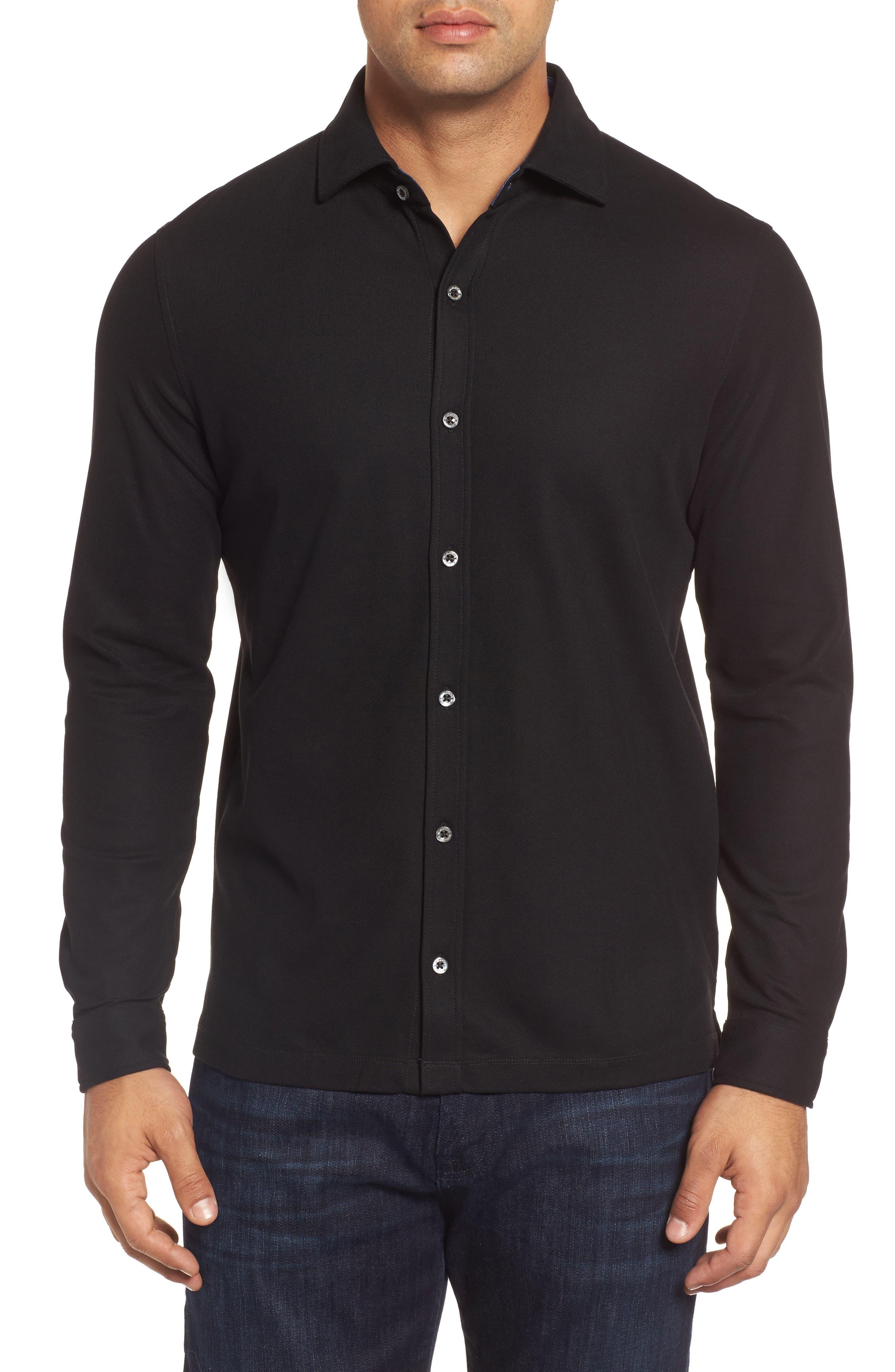 Classic Fit Piqué Knit Shirt,                             Main thumbnail 1, color,                             Black
