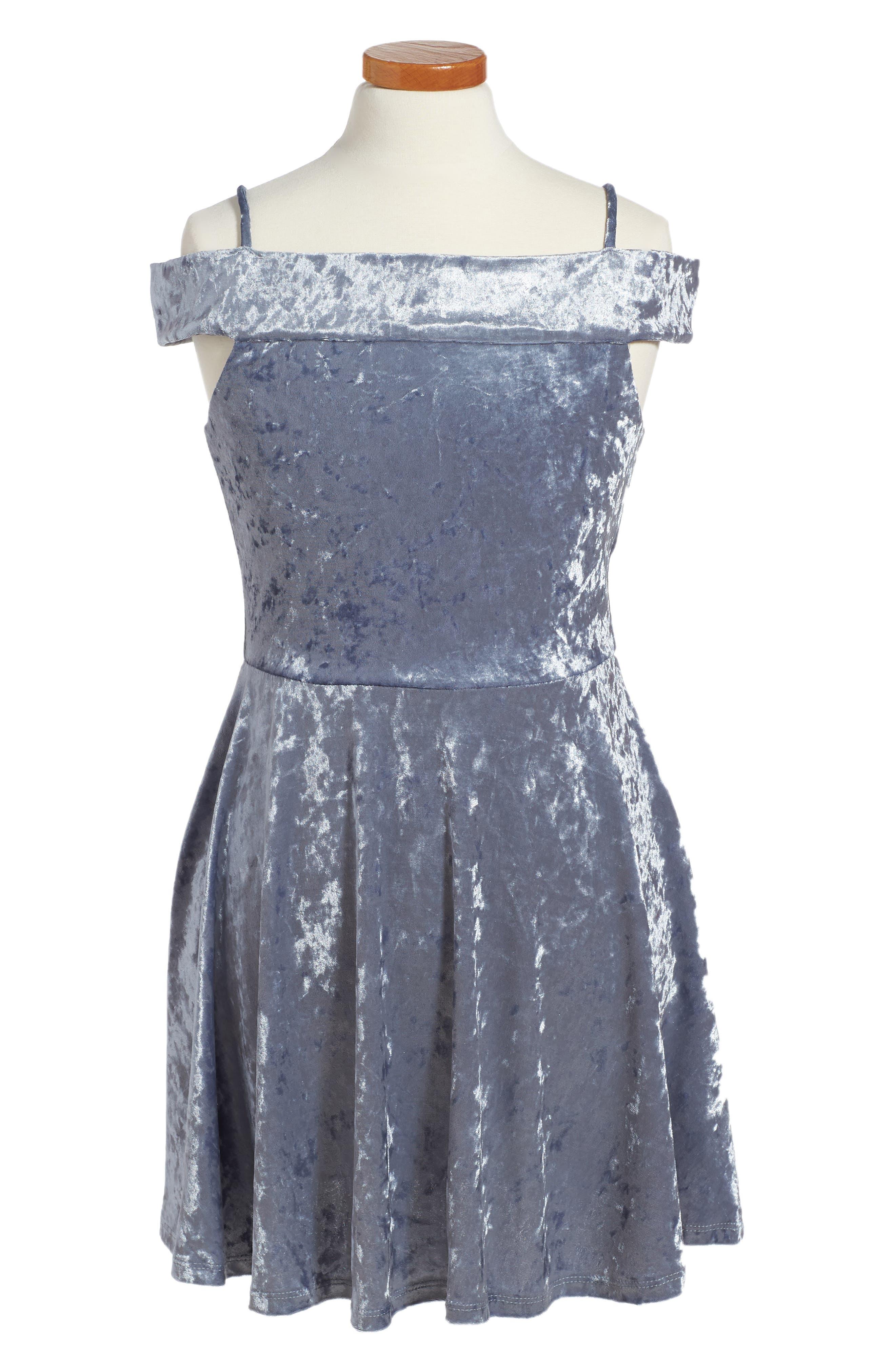 Alternate Image 1 Selected - Ava & Yelly Marilyn Velvet Skater Dress (Big Girls)
