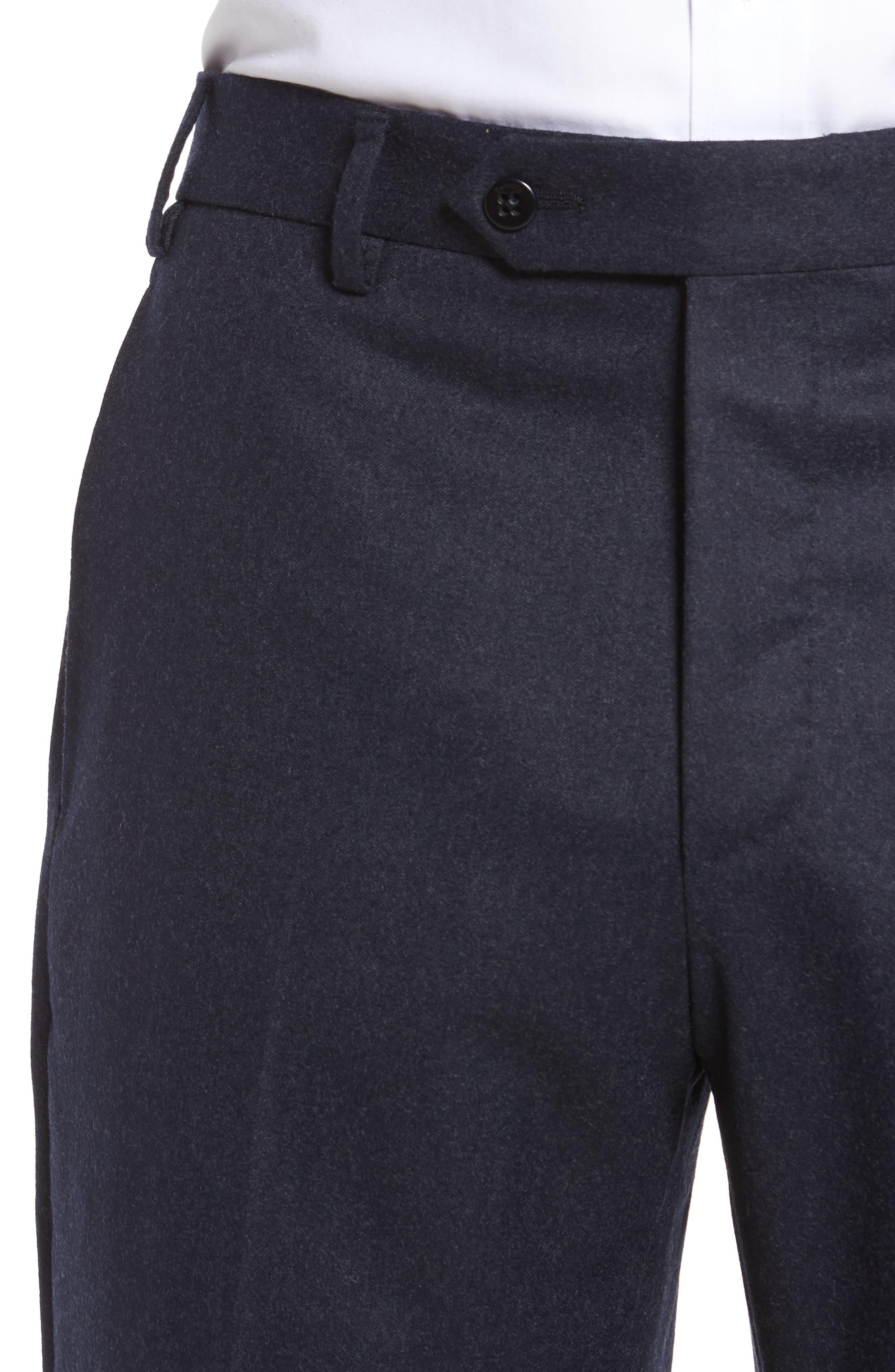Alternate Image 5  - Zanella Devon Flat Front Solid Wool Trousers