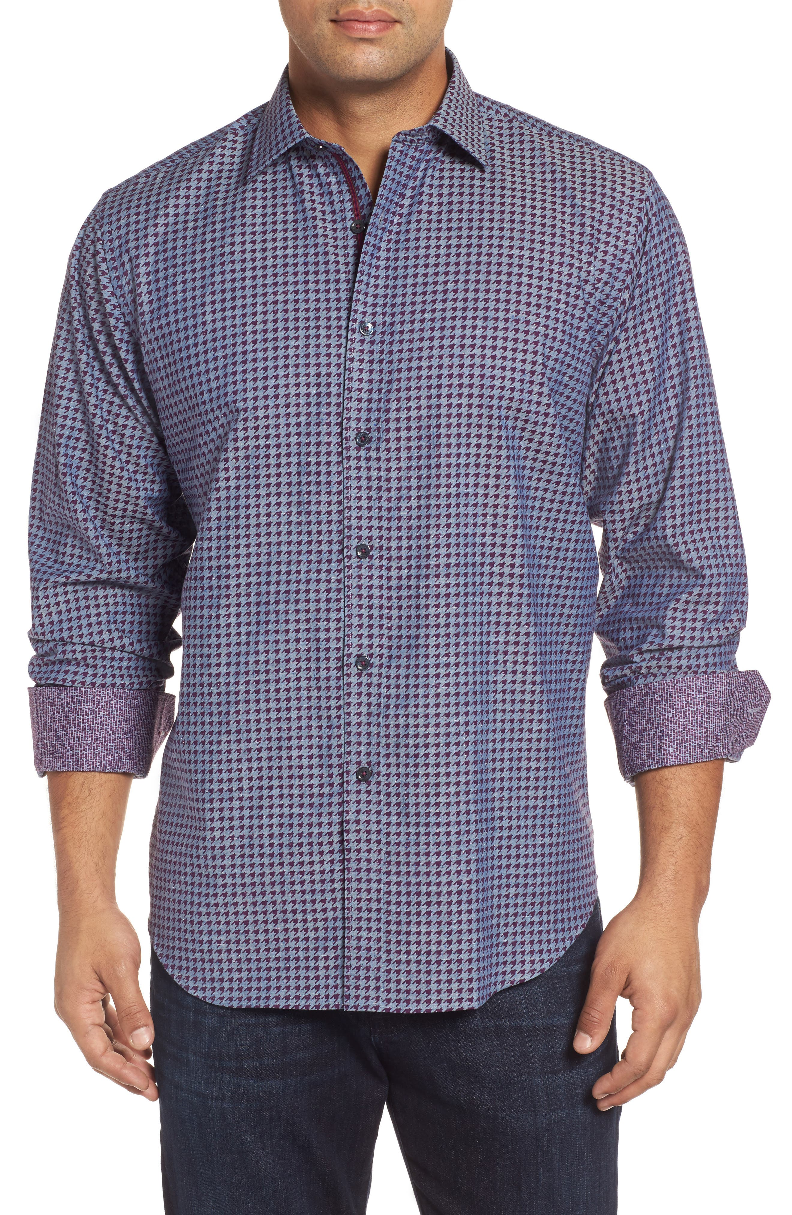 Classic Fit Houndstooth Print Sport Shirt,                         Main,                         color, Bordeaux