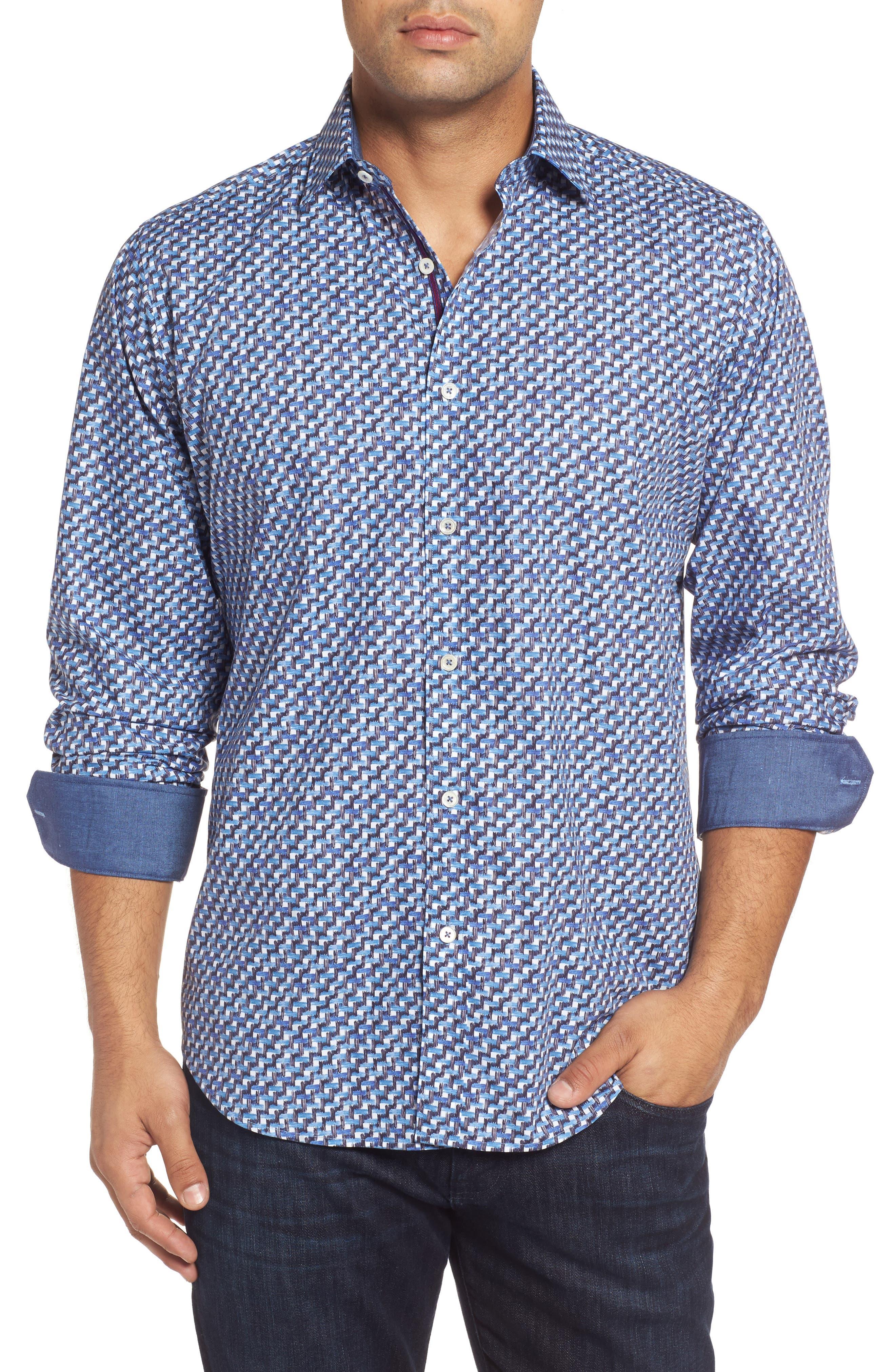 Main Image - Bugatchi Classic Fit Weave Print Sport Shirt