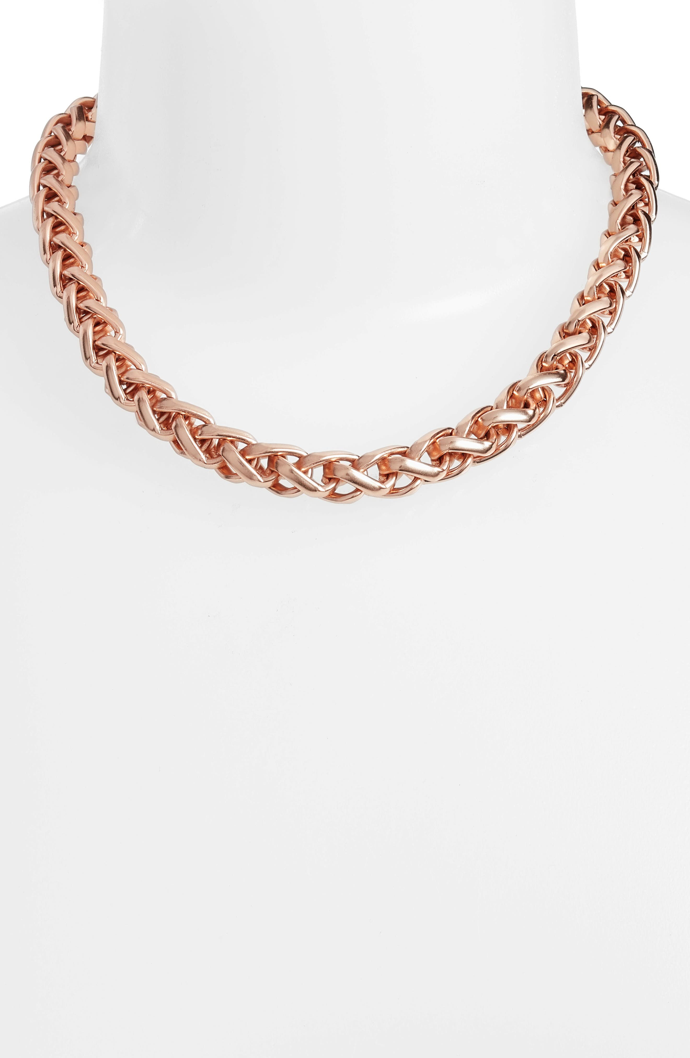 Braided Link Collar Necklace,                             Alternate thumbnail 2, color,                             Rose Gold