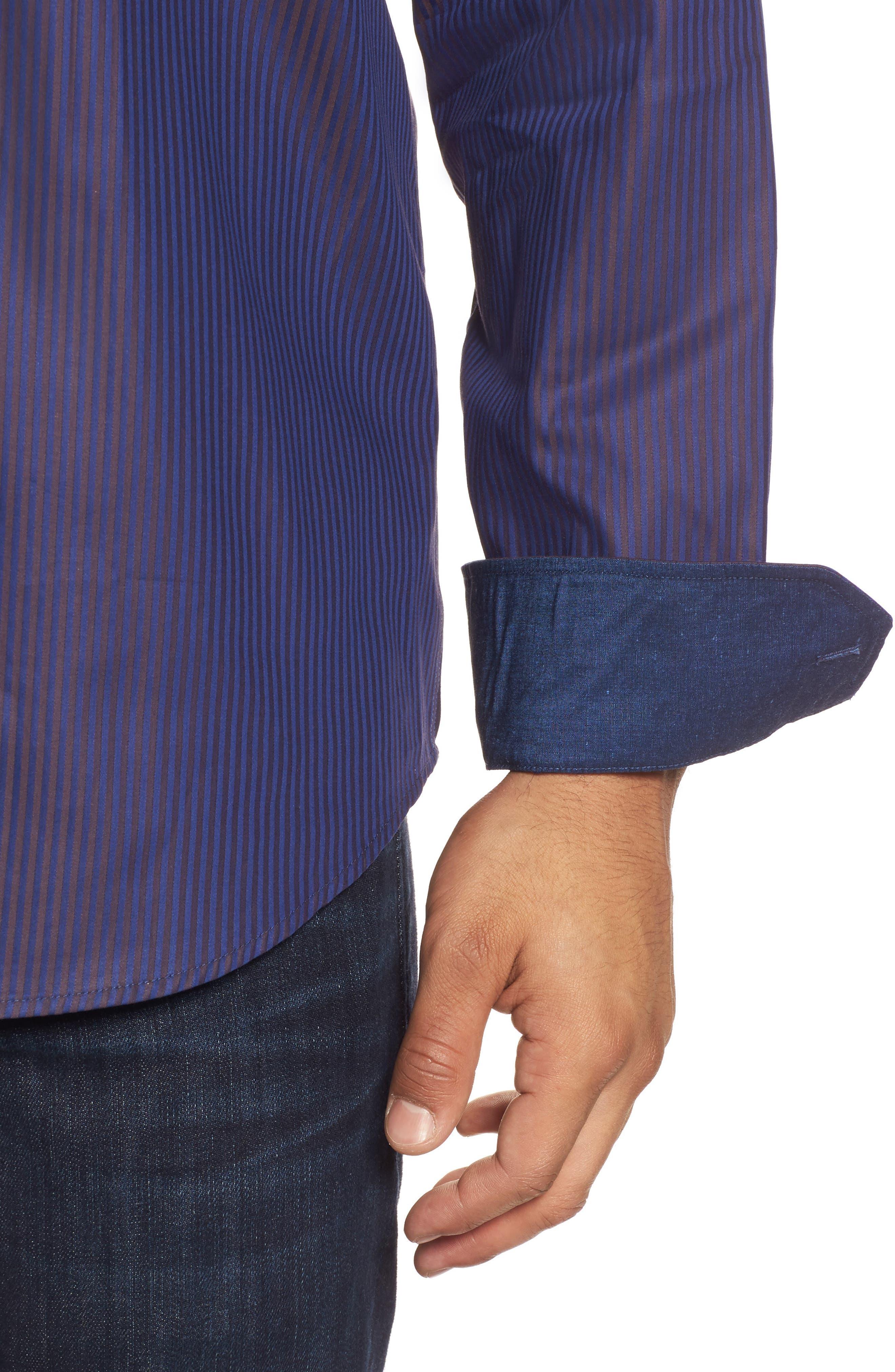 Alternate Image 4  - Bugatchi Classic Fit Herringbone Pinstripe Sport Shirt