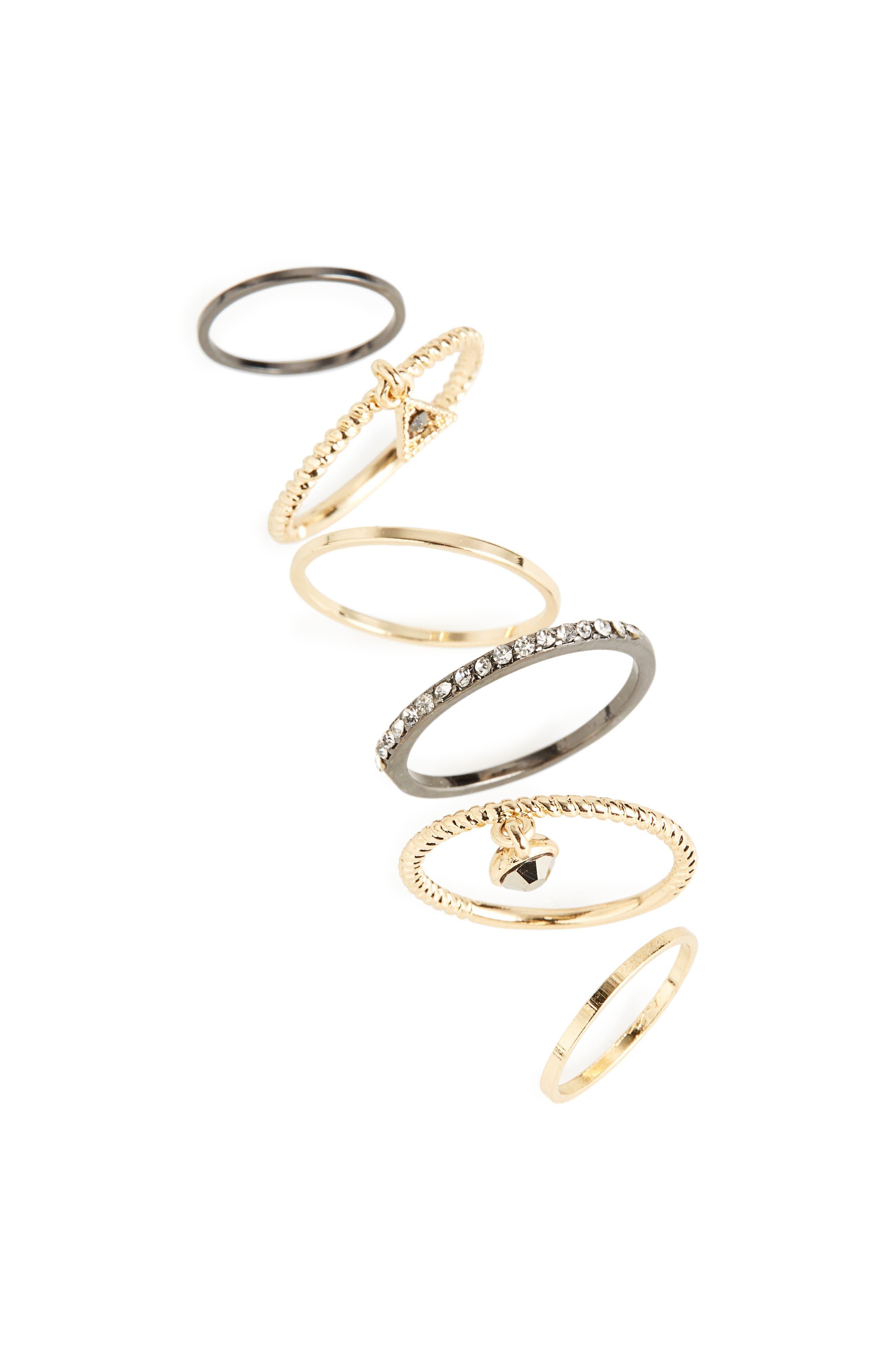 Set of 6 Rings,                         Main,                         color, Gold Multi