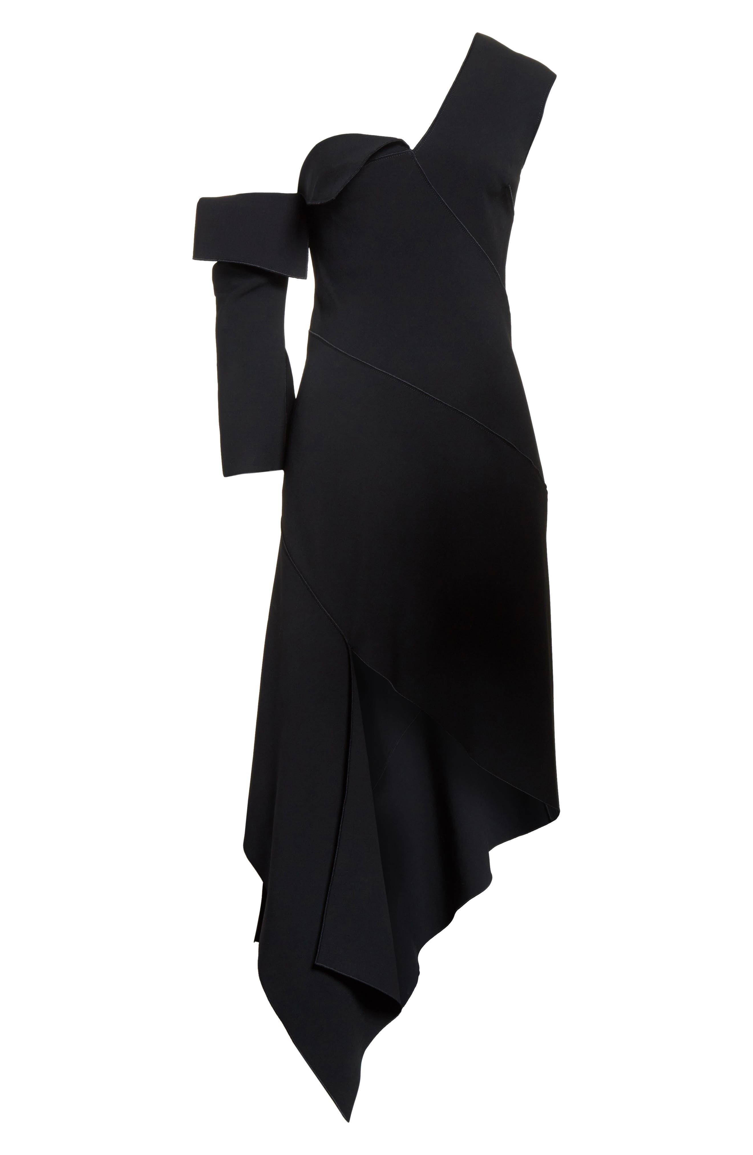 Double-Face Stretch Wool One-Shoulder Dress,                             Alternate thumbnail 7, color,                             Black