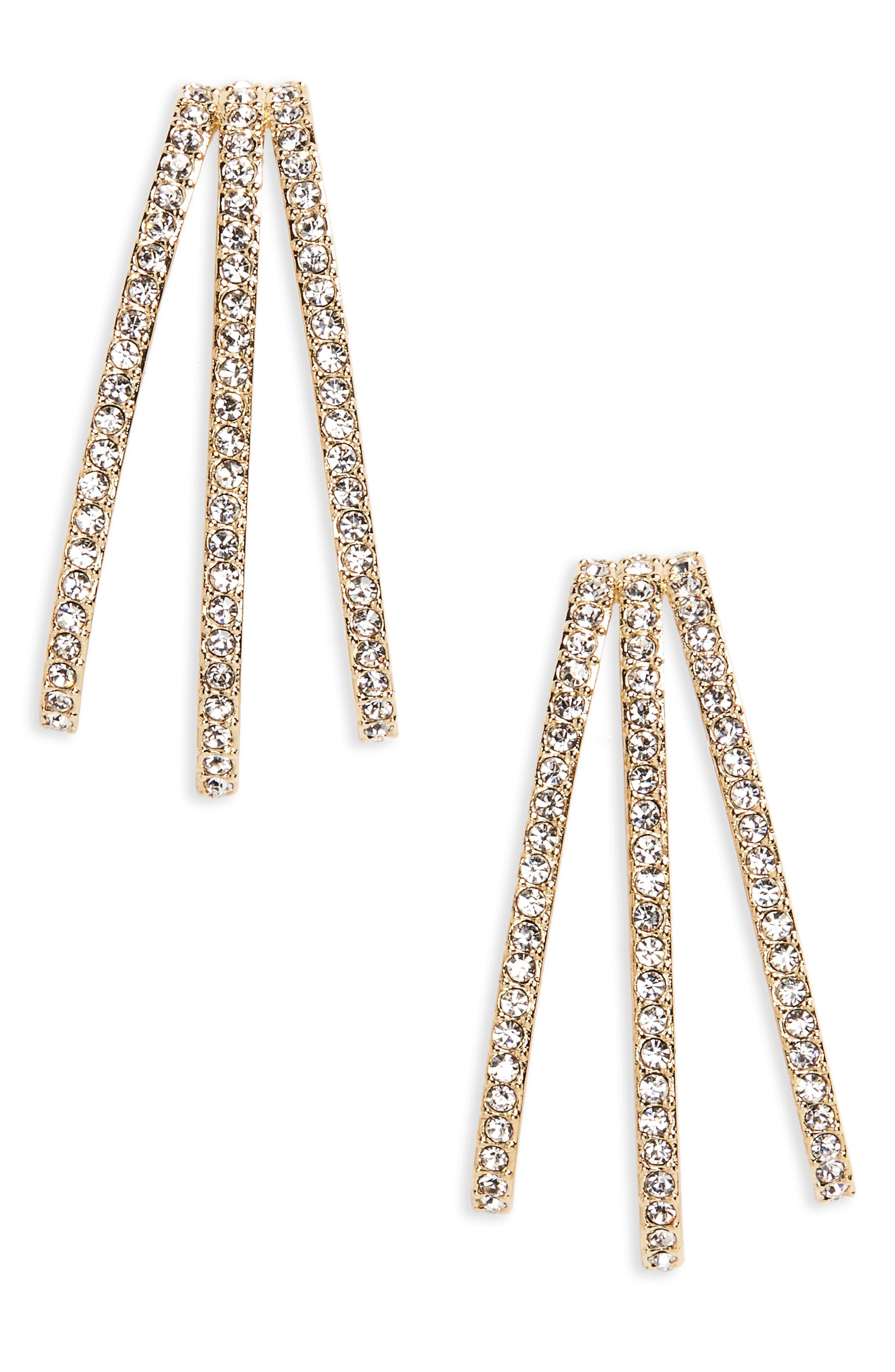 Three-Row Crystal Ear Cuffs,                         Main,                         color, Gold