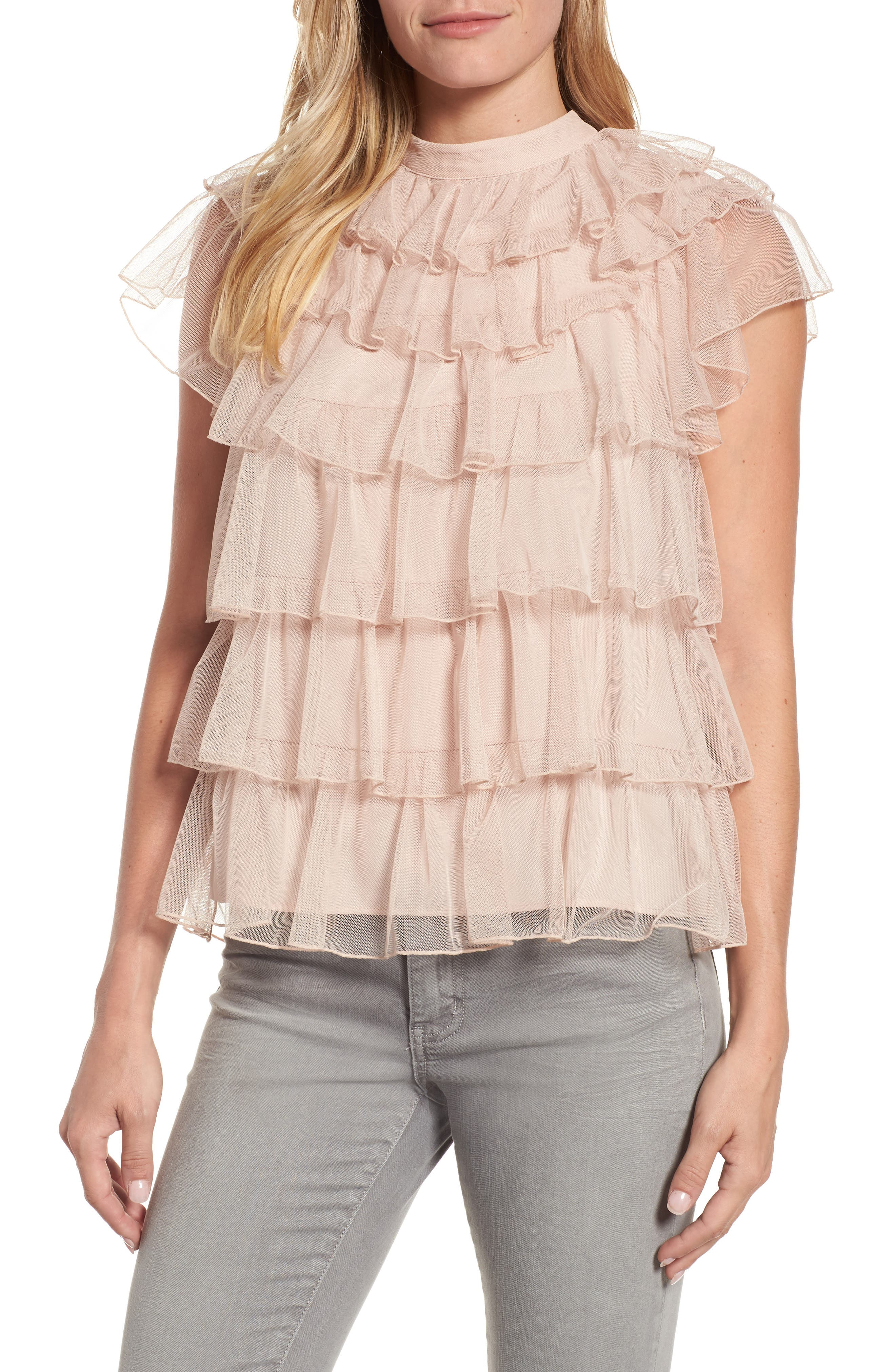 Tie Back Tiered Mesh Top,                         Main,                         color, Blush