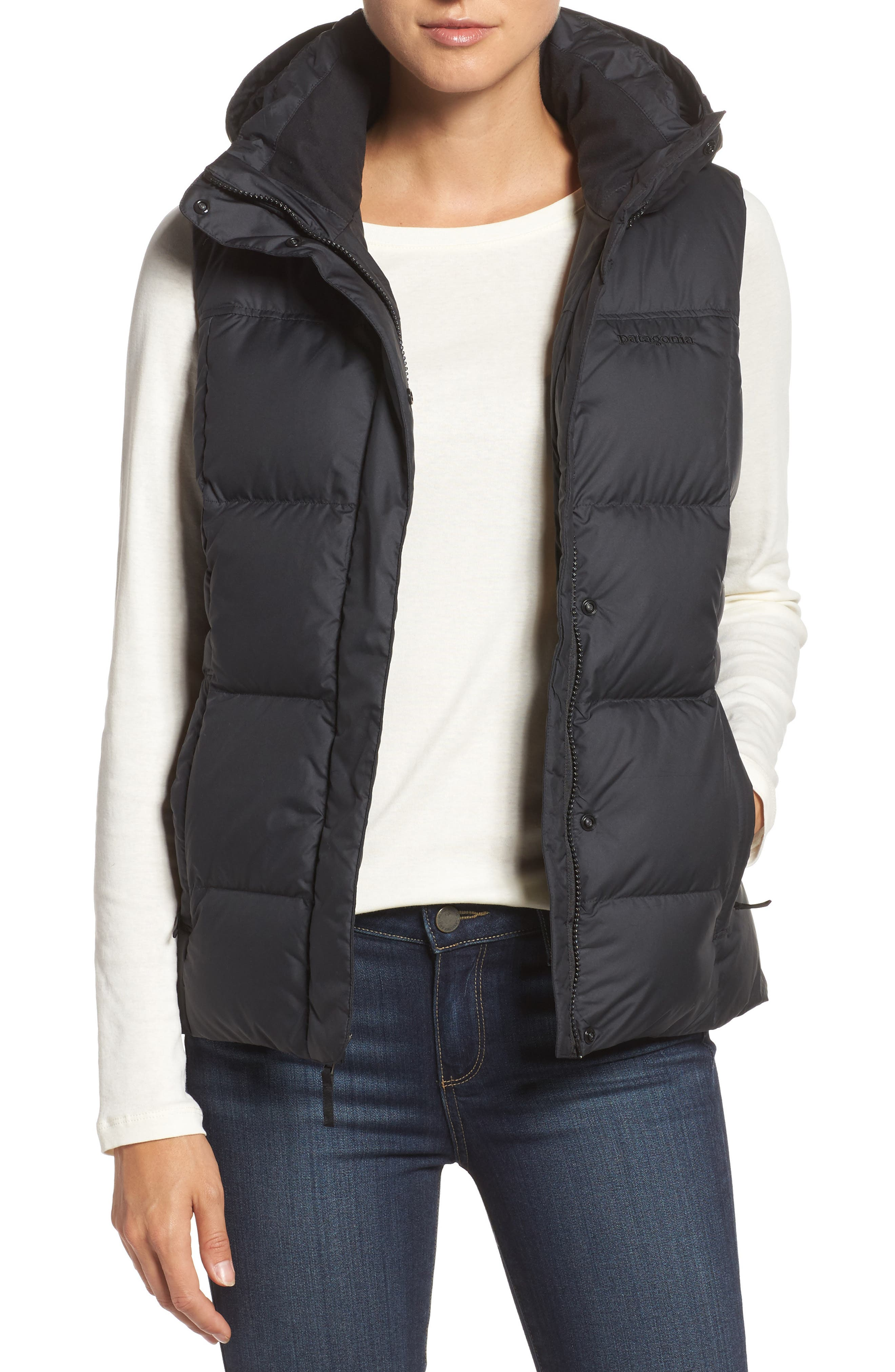 Down with It Hooded Down Vest,                         Main,                         color, Black