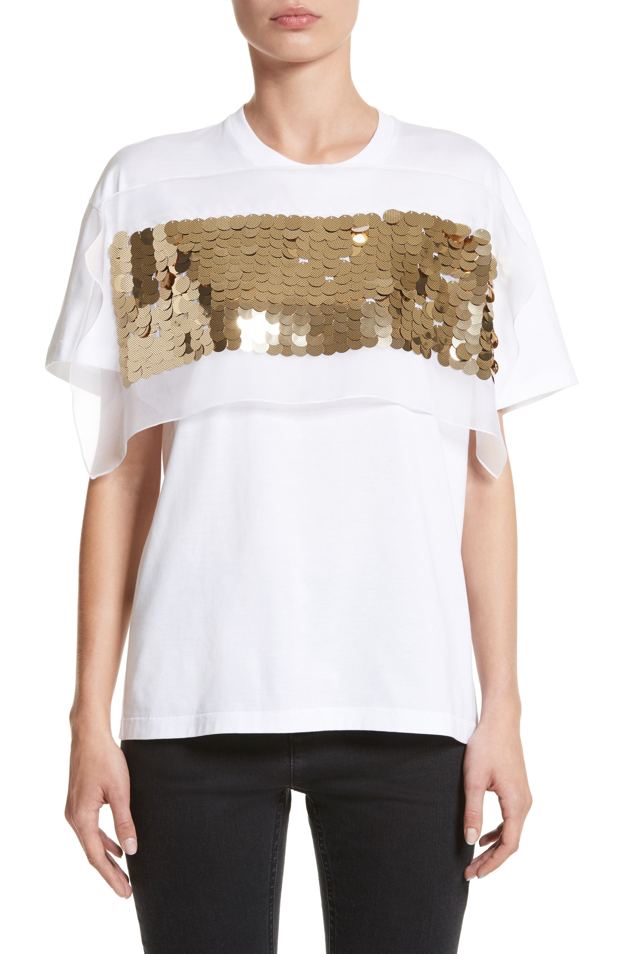Sequin Tee,                         Main,                         color, White
