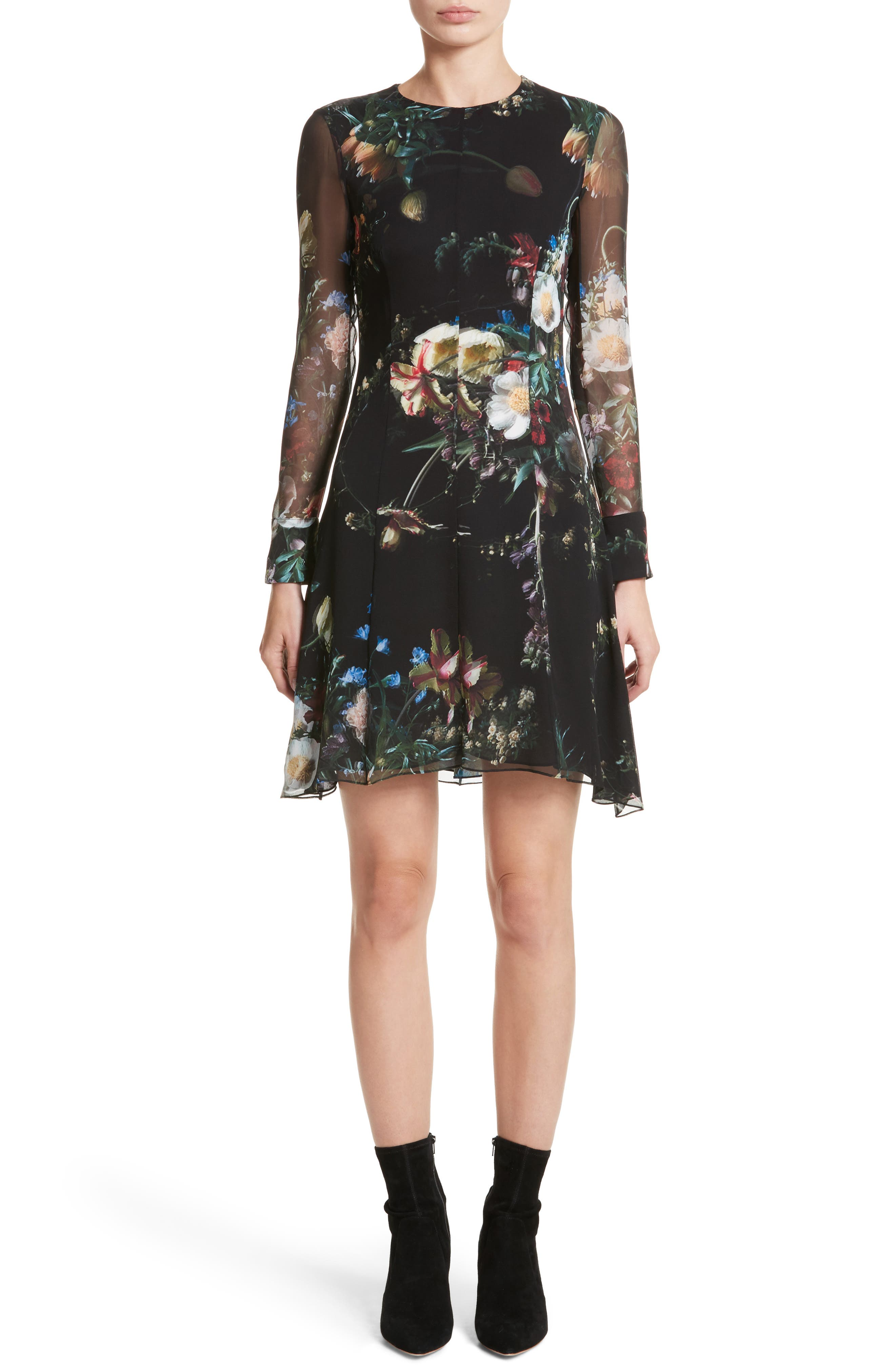 Floral Print Silk Minidress,                             Main thumbnail 1, color,                             Black