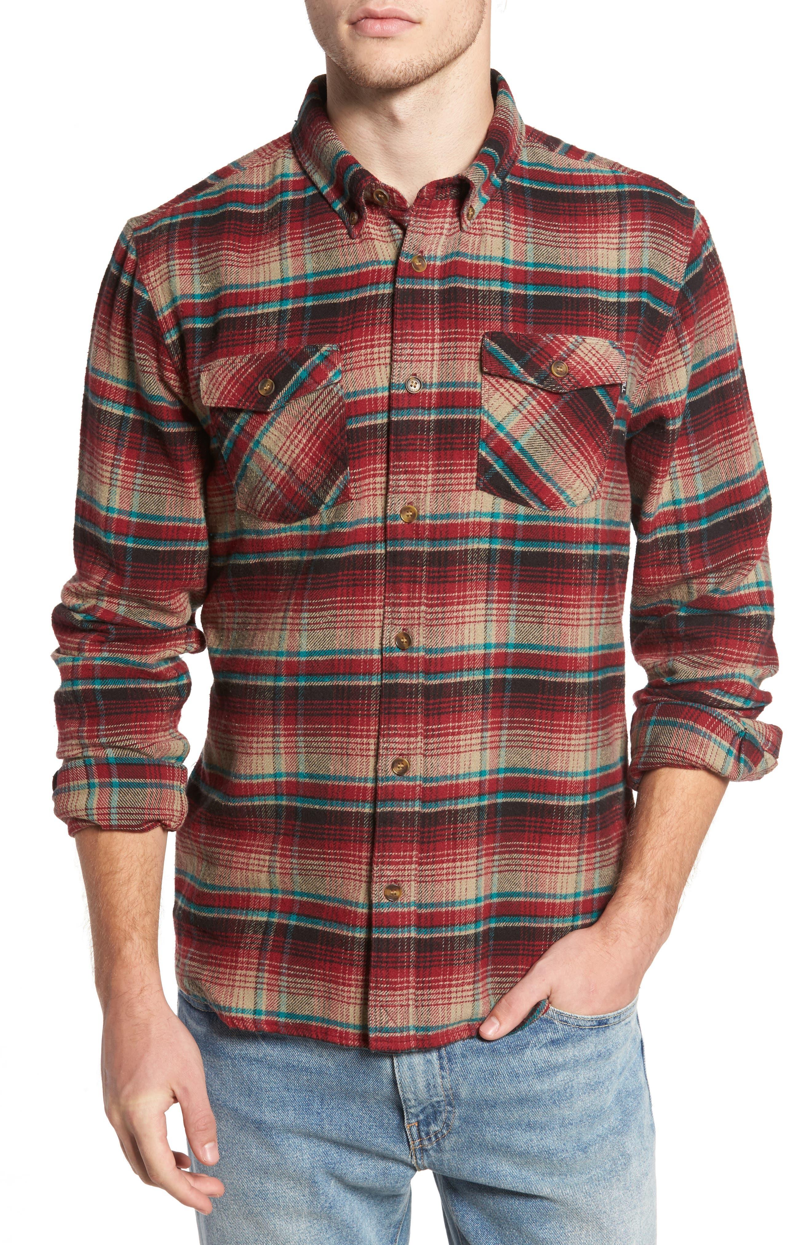Butler Plaid Flannel Sport Shirt,                         Main,                         color, Crimson