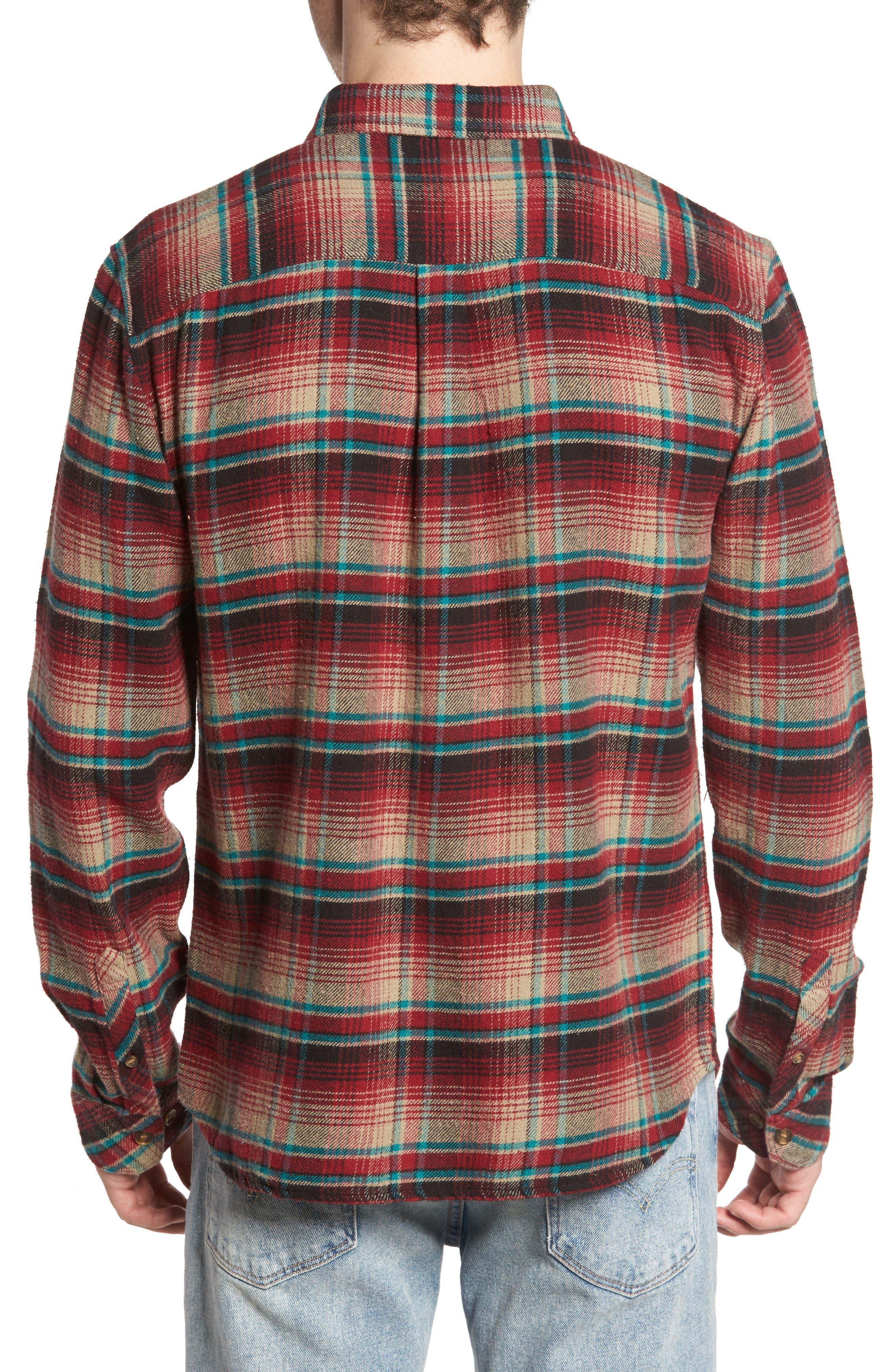 Butler Plaid Flannel Sport Shirt,                             Alternate thumbnail 2, color,                             Crimson