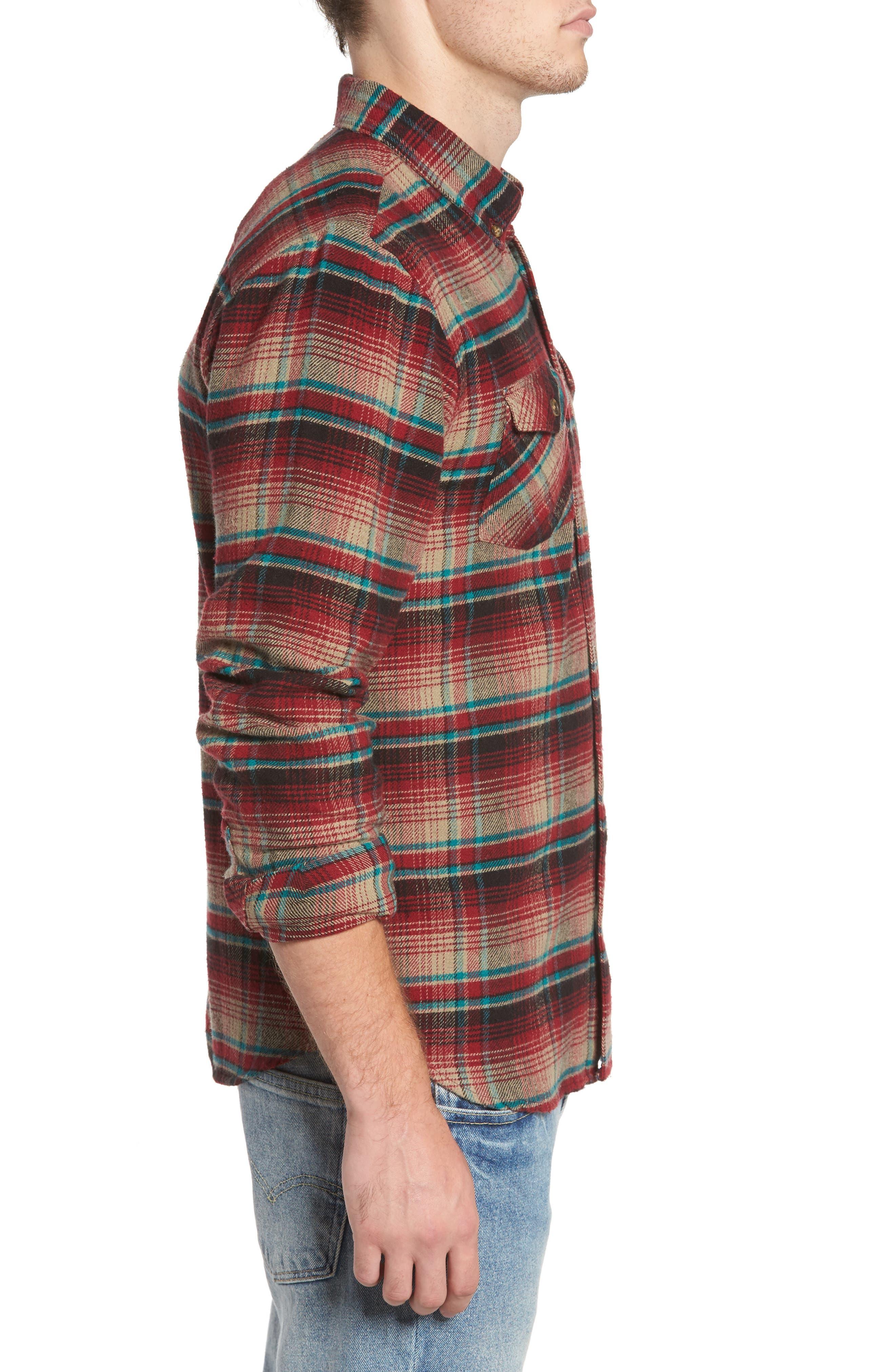 Butler Plaid Flannel Sport Shirt,                             Alternate thumbnail 3, color,                             Crimson