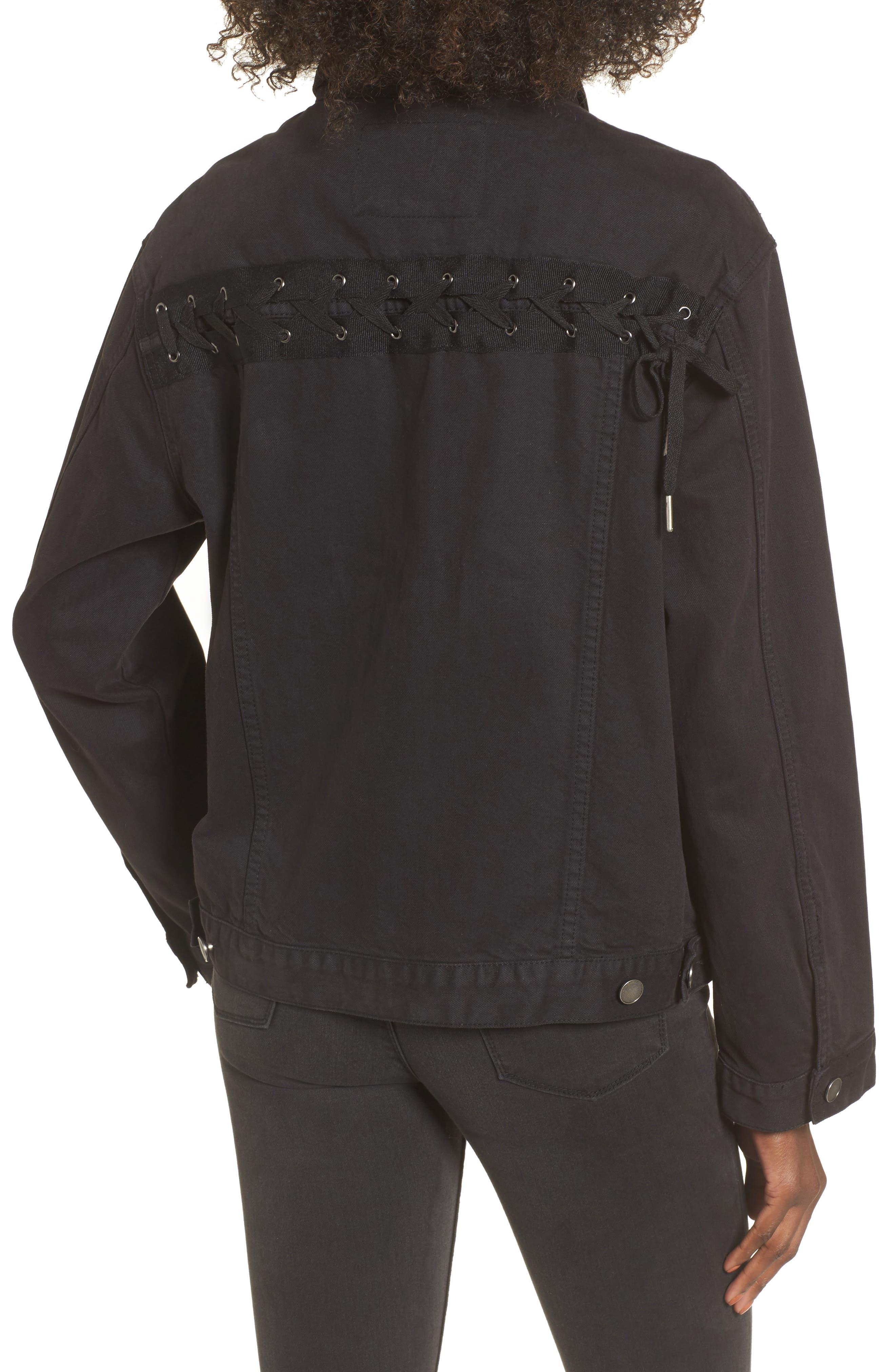 Lace-Up Denim Jacket,                             Alternate thumbnail 2, color,                             Black