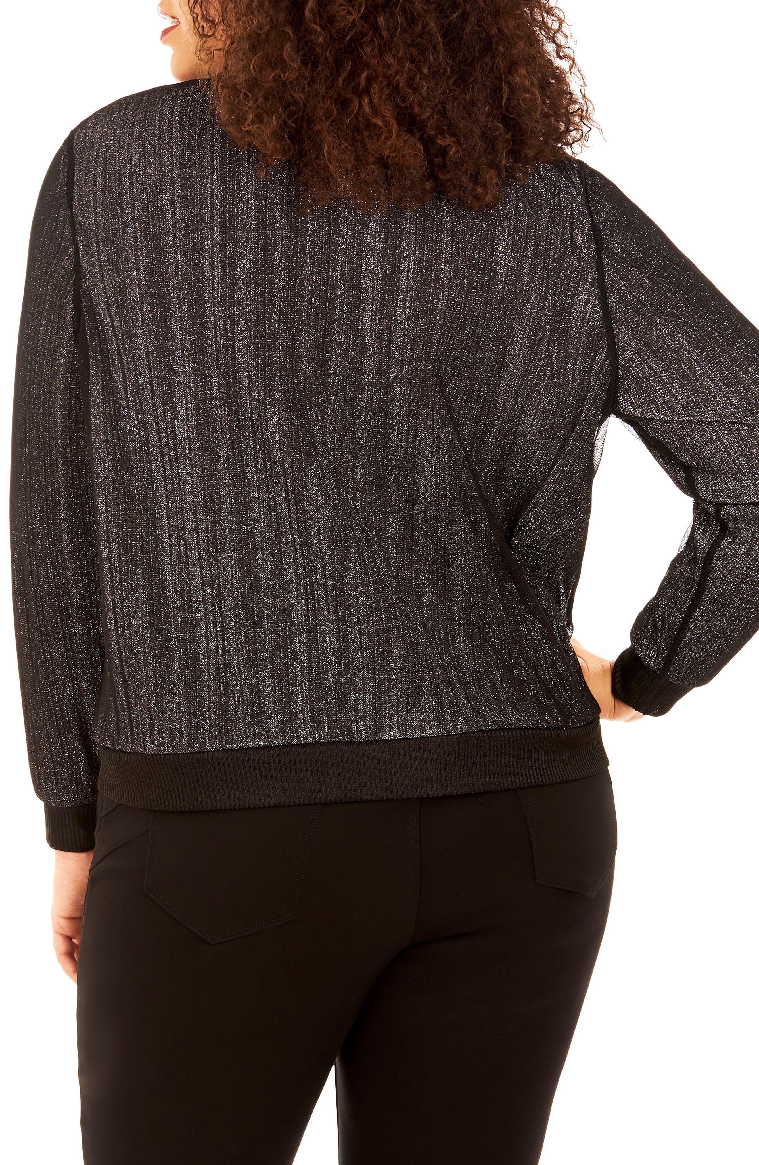 Glitter Knit Top,                             Alternate thumbnail 2, color,                             Silver/ Black