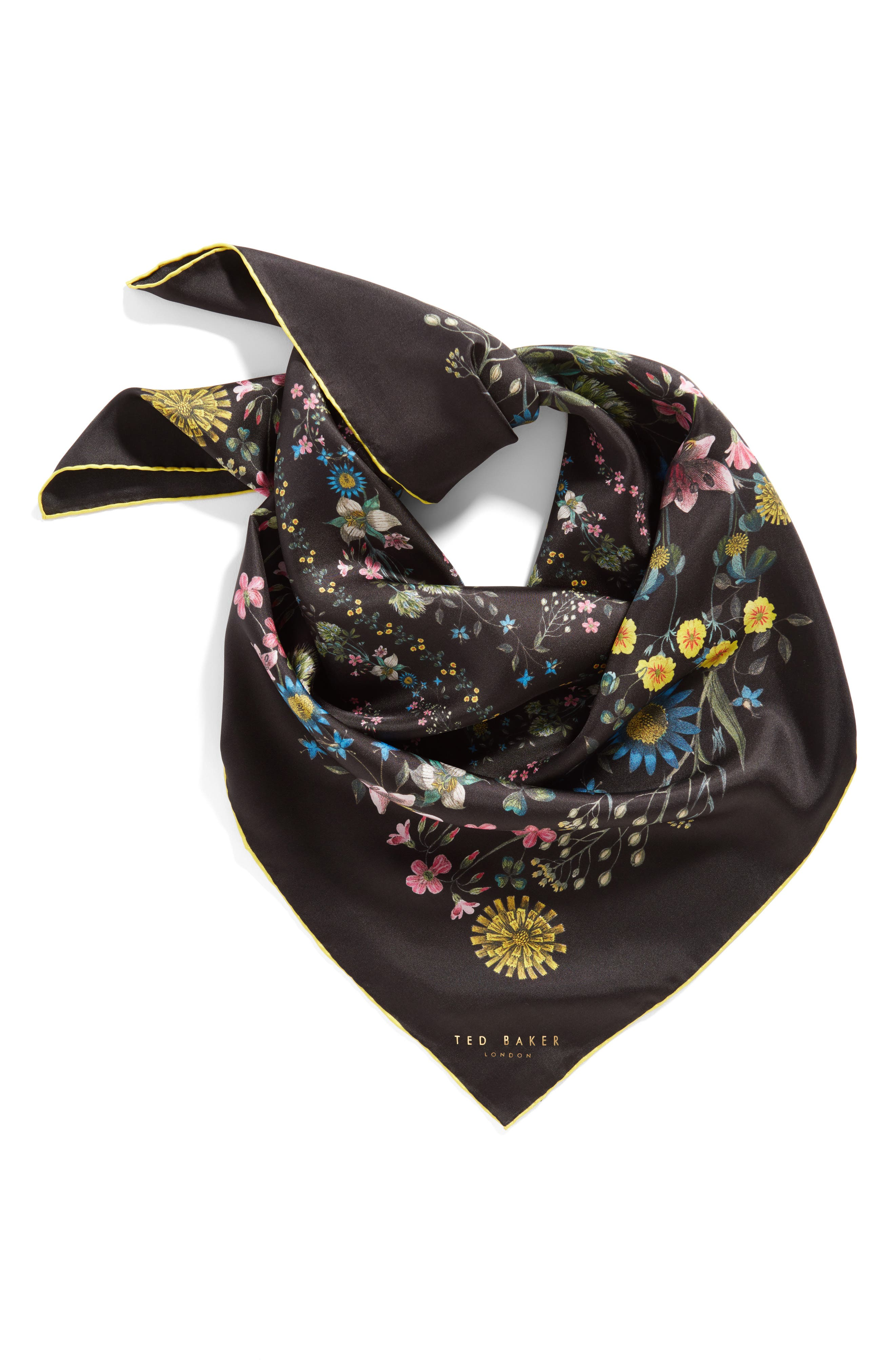 Ted Baker London Unity Floral Small Square Silk Scarf