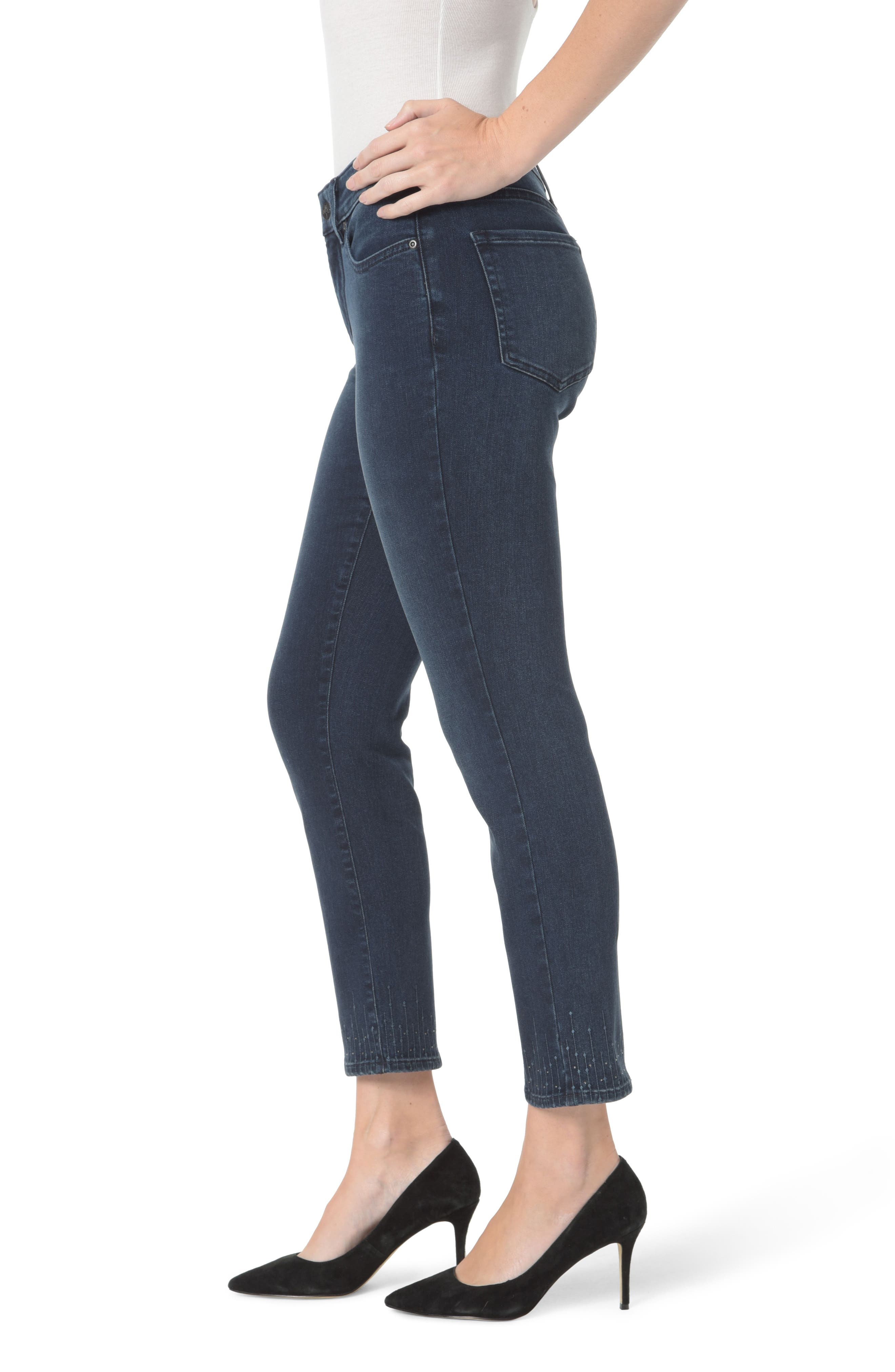 Sheri Embroidered Ankle Skinny Jeans,                             Alternate thumbnail 3, color,                             Varick