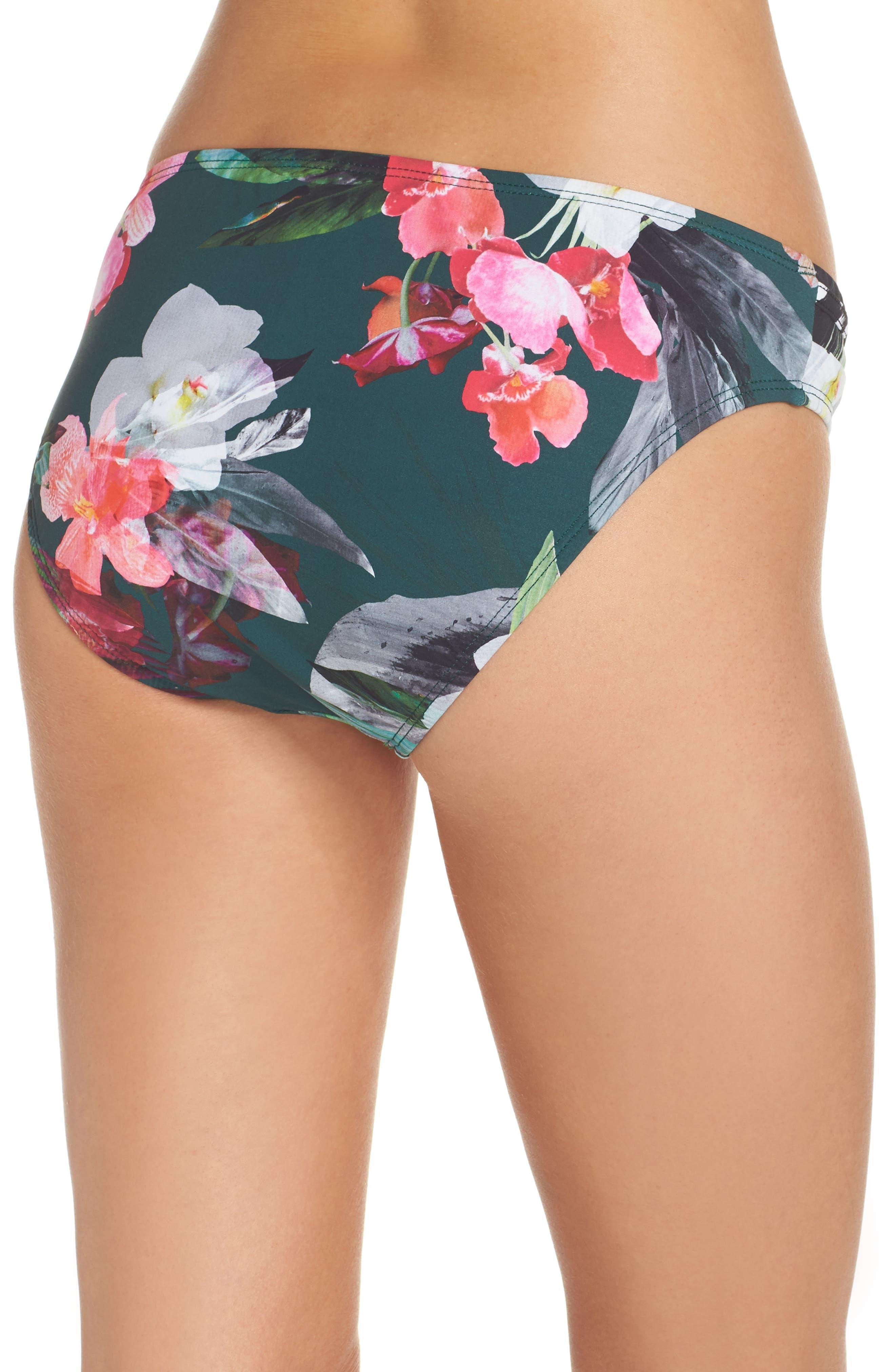 Jungle Floral Shirred Hipster Bikini Bottoms,                             Alternate thumbnail 2, color,                             Hunter