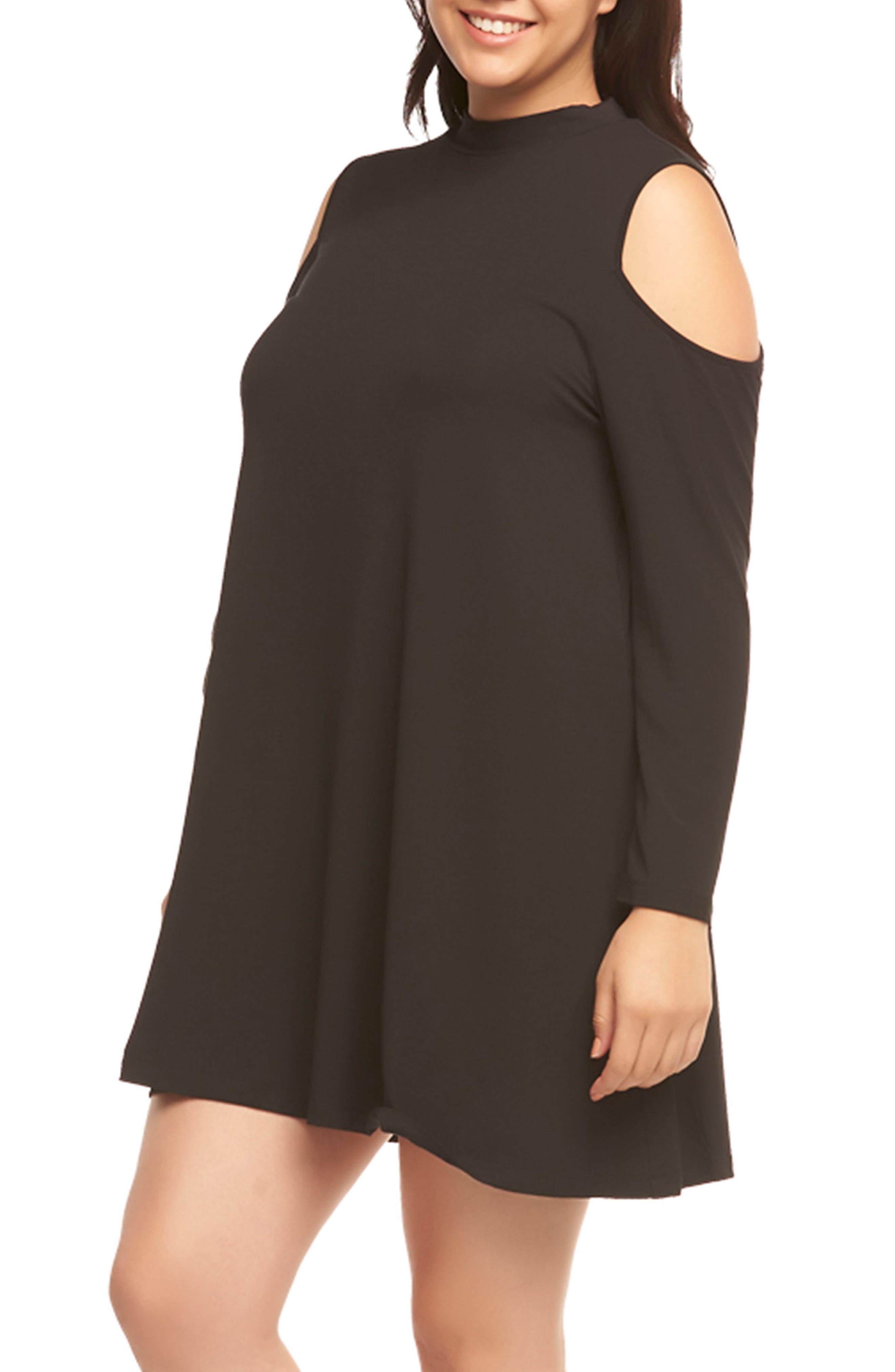 Kailey Cold Shoulder Trapeze Dress,                             Alternate thumbnail 4, color,                             Black