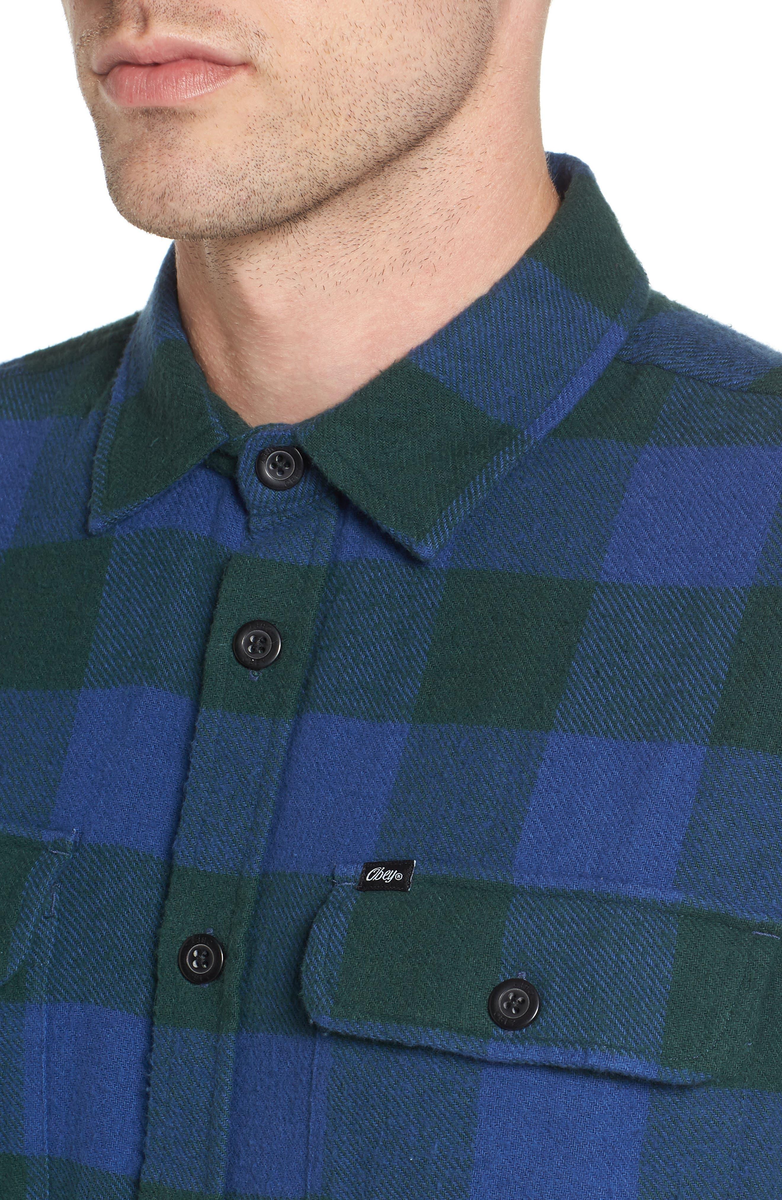 Trent Check Woven Shirt,                             Alternate thumbnail 4, color,                             Navy Multi